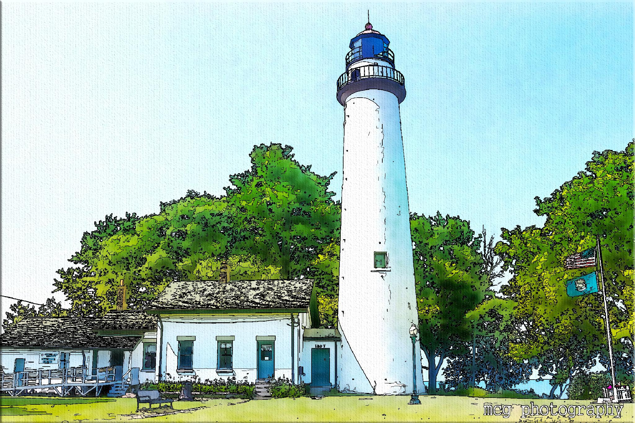 Pointe Aux Barques Lighthouse (as a painting) by mcgiddin