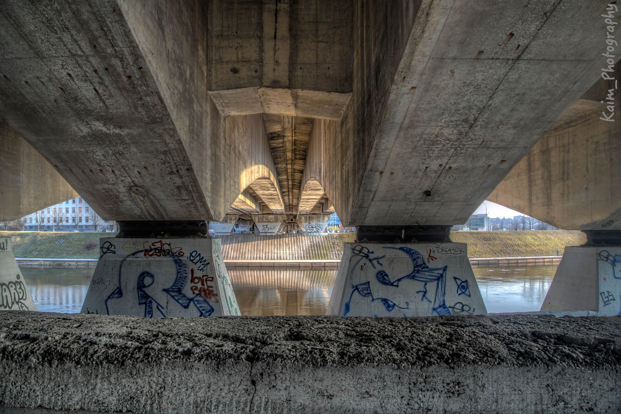 Over the Neris river a Bridge in Vinius by kaim