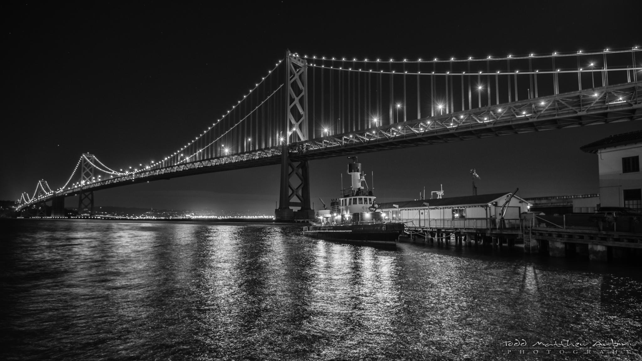 SF Bay Bridge and Fire Boat by Todd Arbini