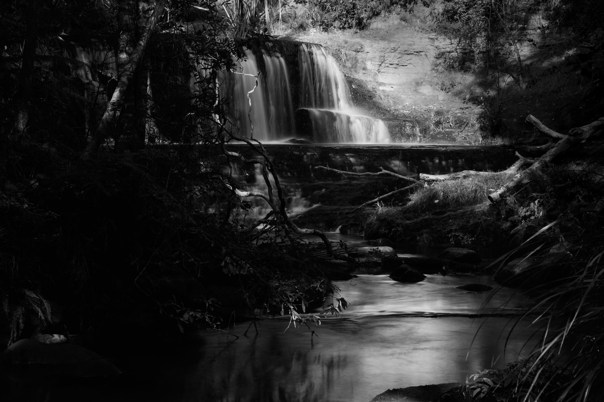 Photo in Black and White #omeru falls #waterfall #steam #cascade