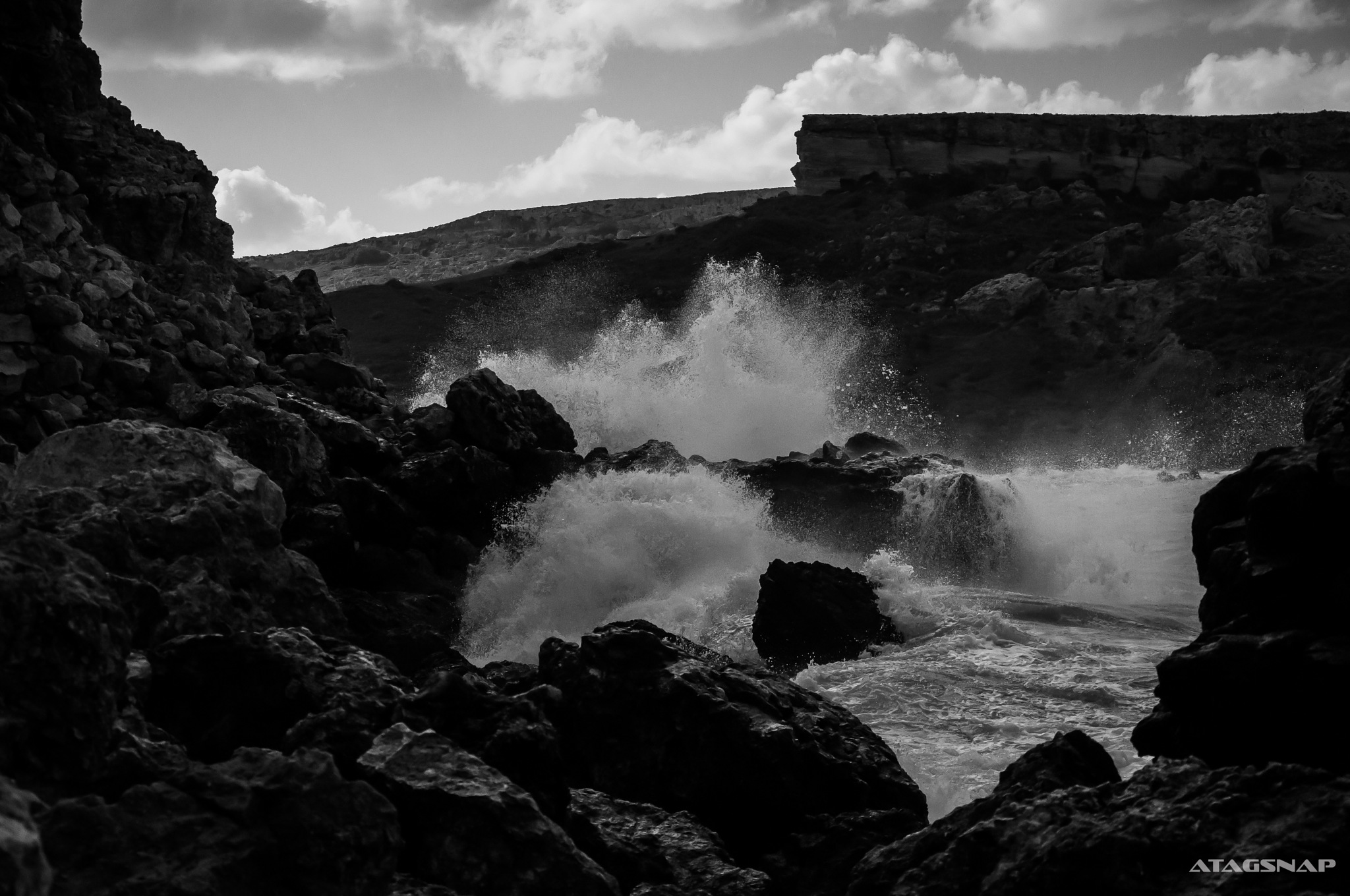 rocks and waves Malta by Tara Gordon