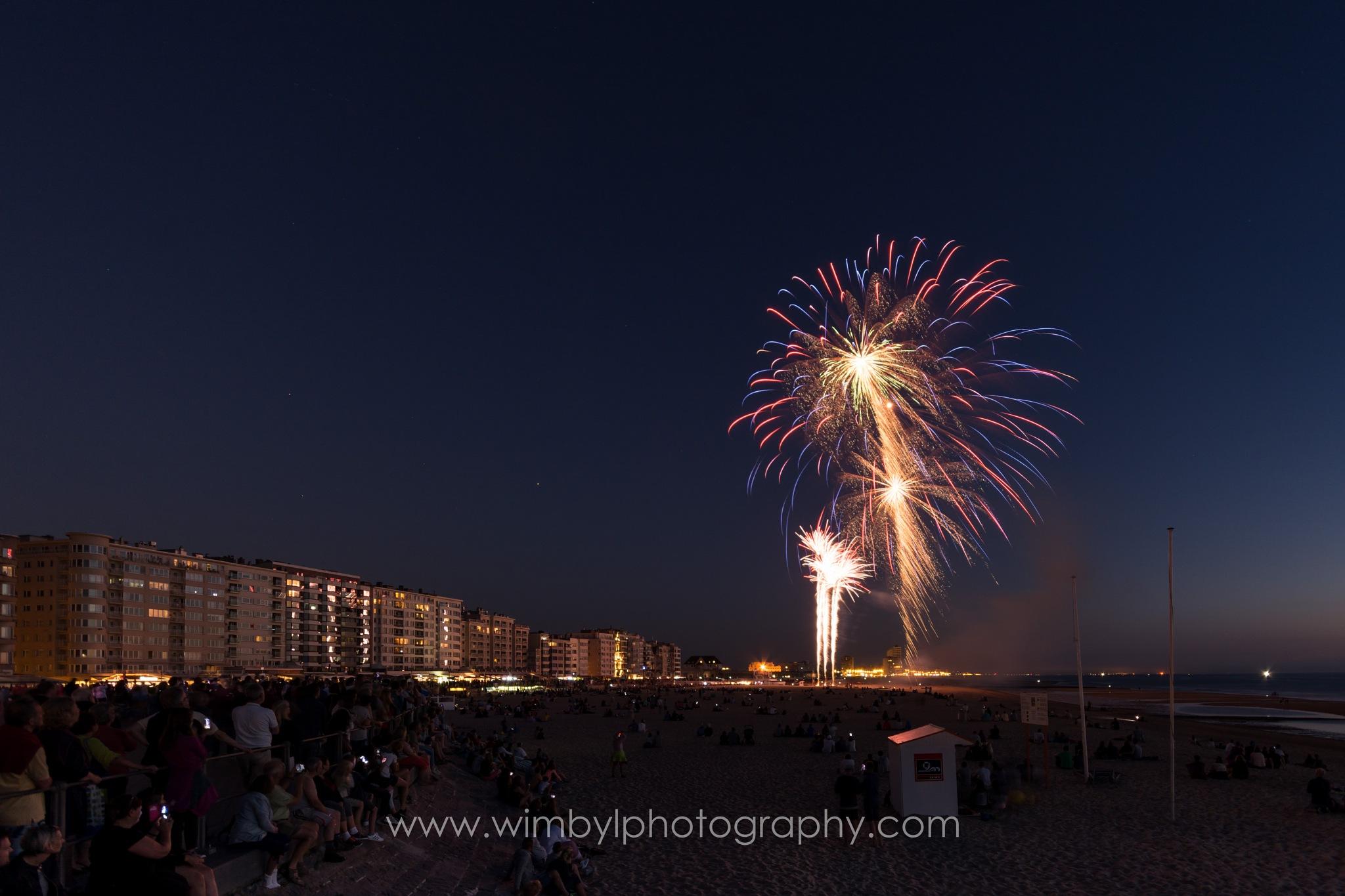 Fireworks at Ostend Beach Belgium by Wim Byl