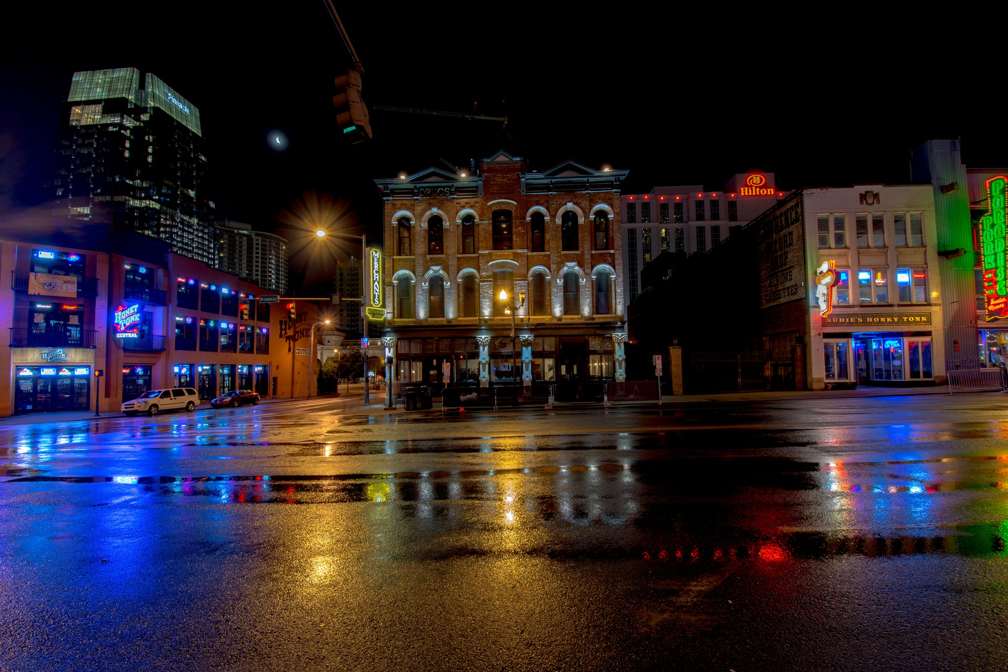 Broadway, Nashville, before dawn by John Schneyer
