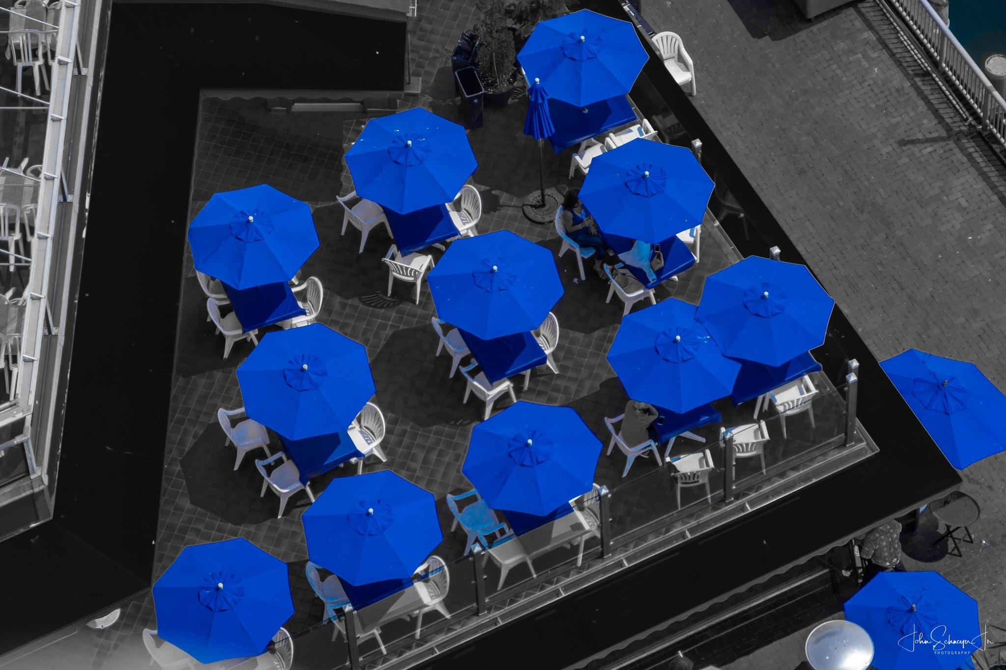 Blue Umbrellas by John Schneyer