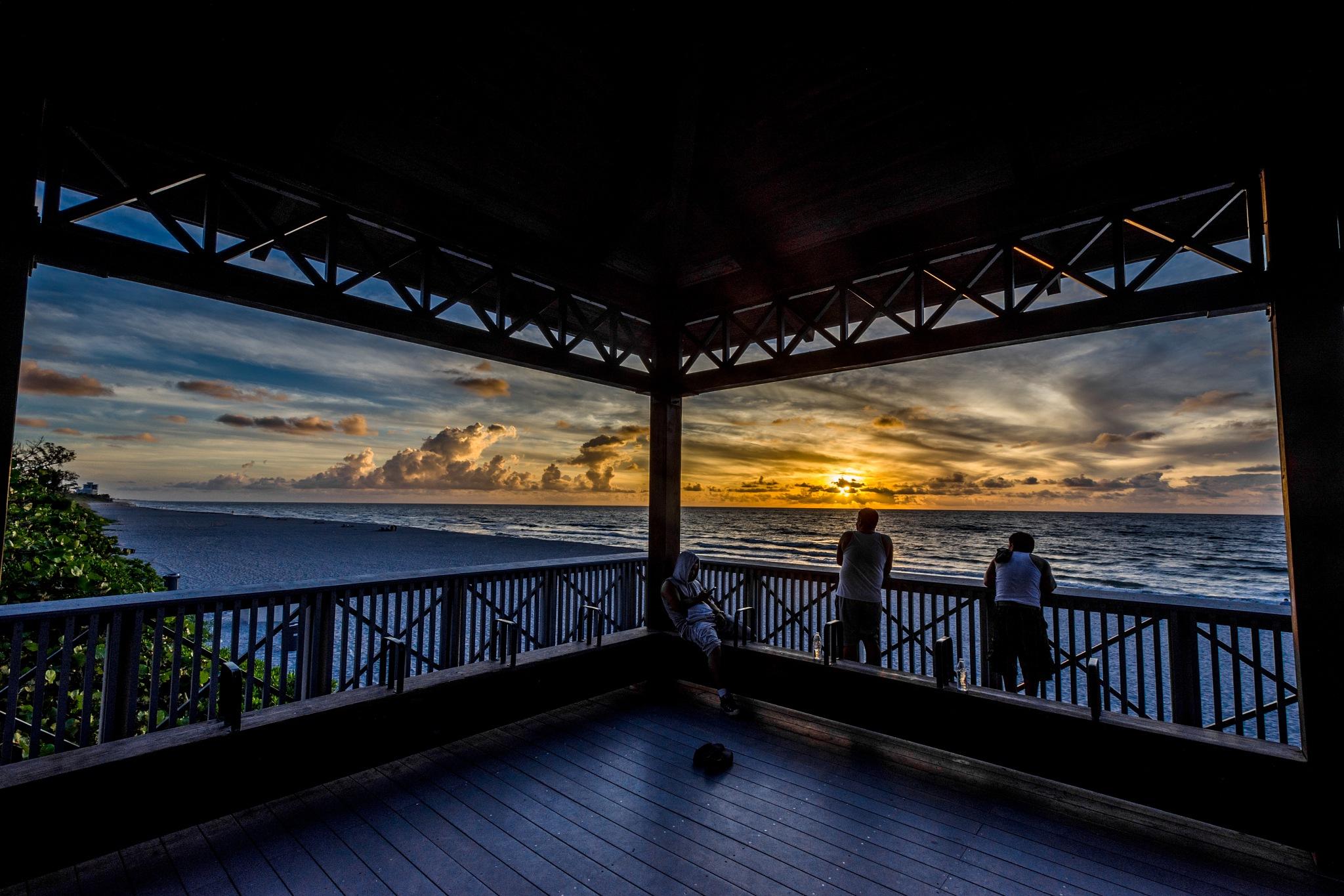 Palmetto Park Pavilion at Sunrise by John Schneyer
