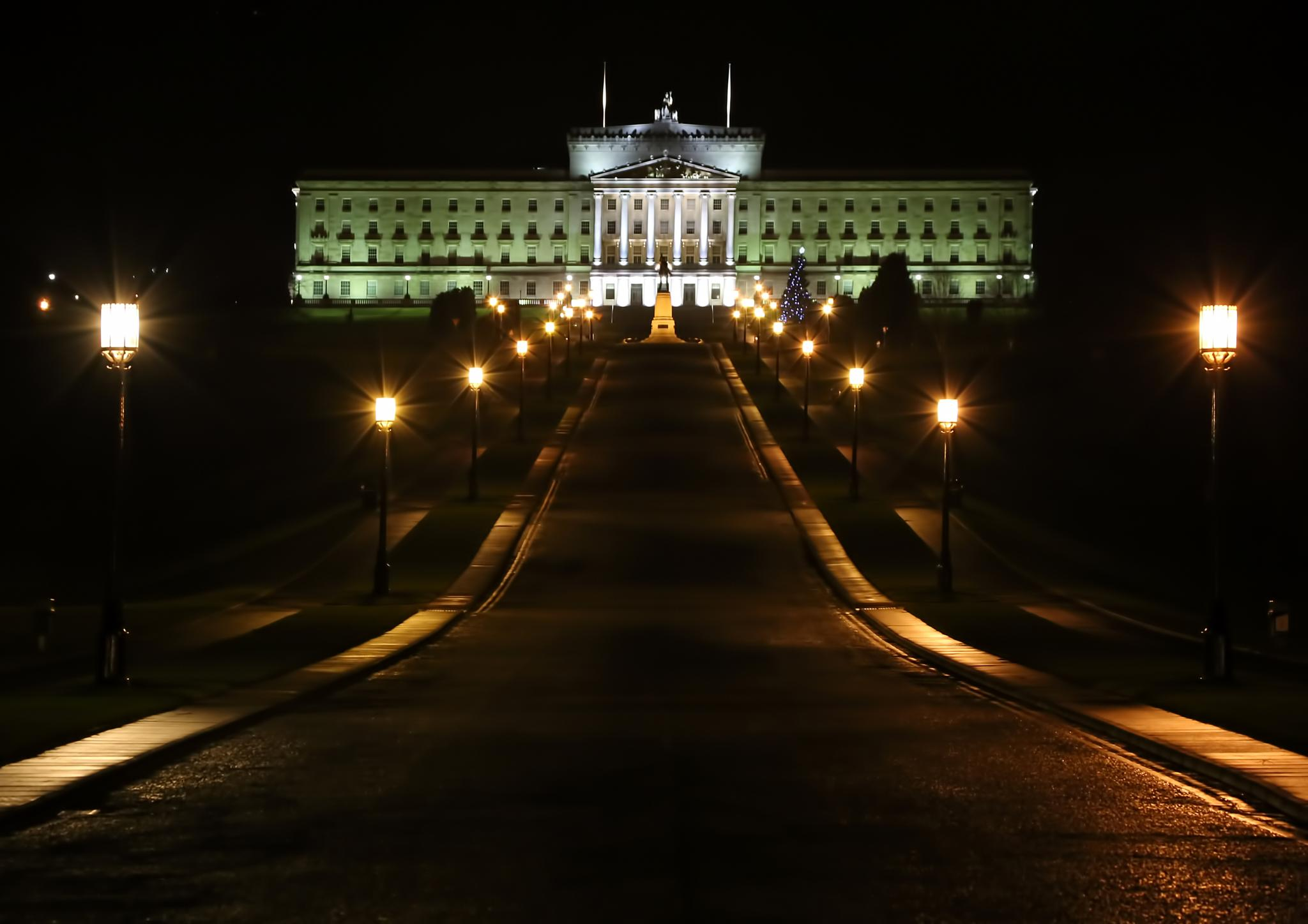 Stormont goes green in the night. by Peter Ellison