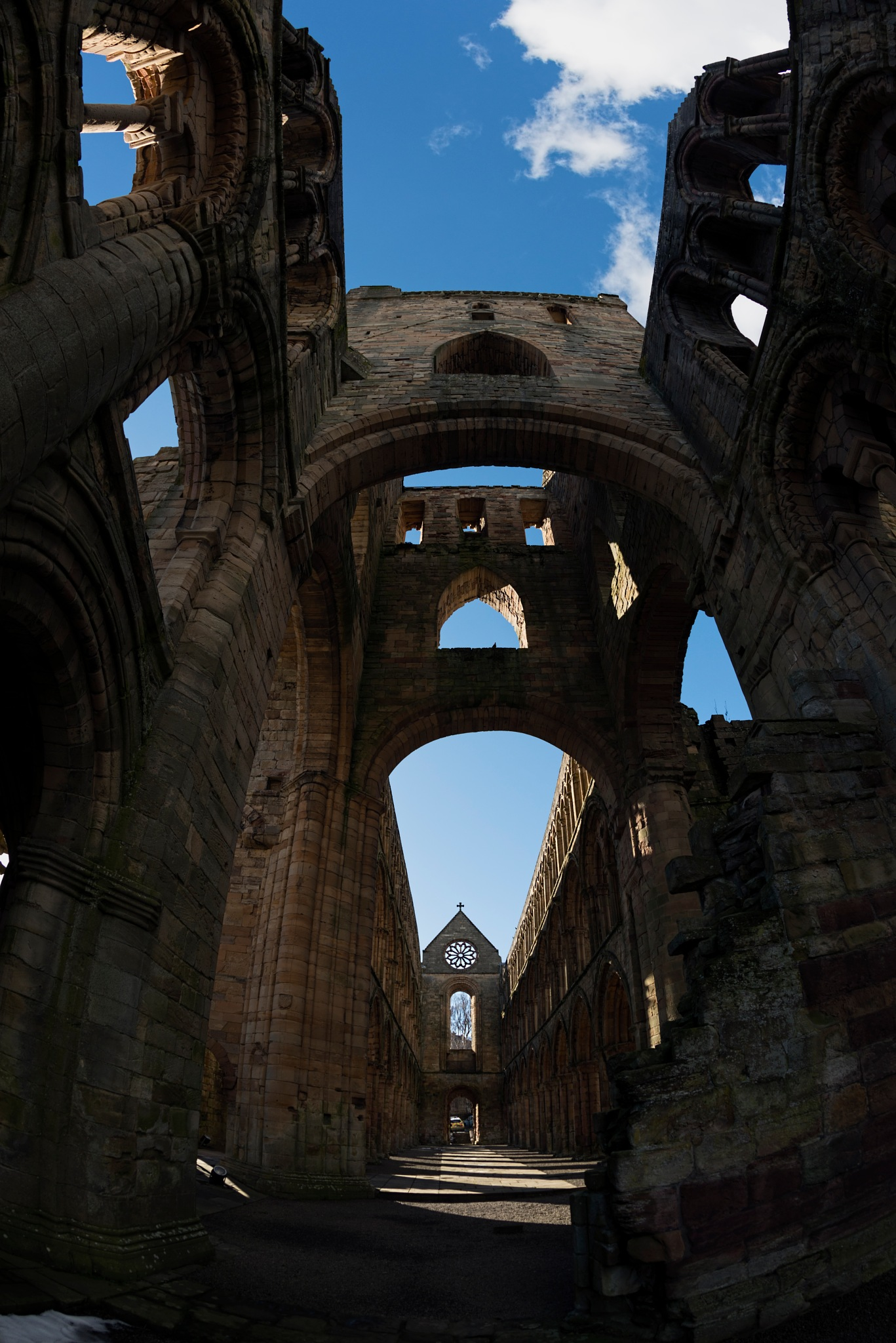 Fisheye view of Jedburgh Abbey 4 by Peter Ellison