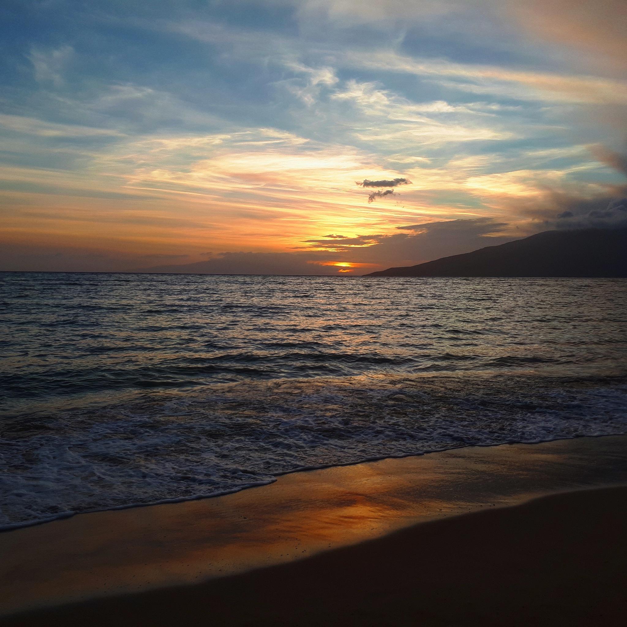sunset in beach by Regina Guenka Palma-Dibb
