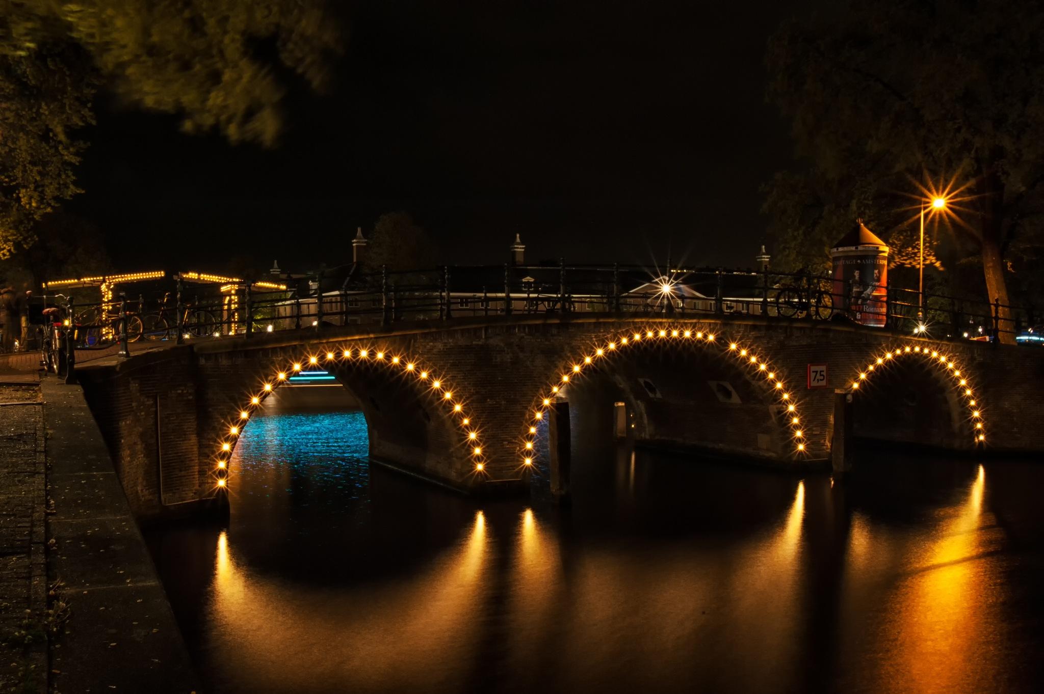 Illuminated Bridge @ Amsterdam by Paul Hoogeveen Photography