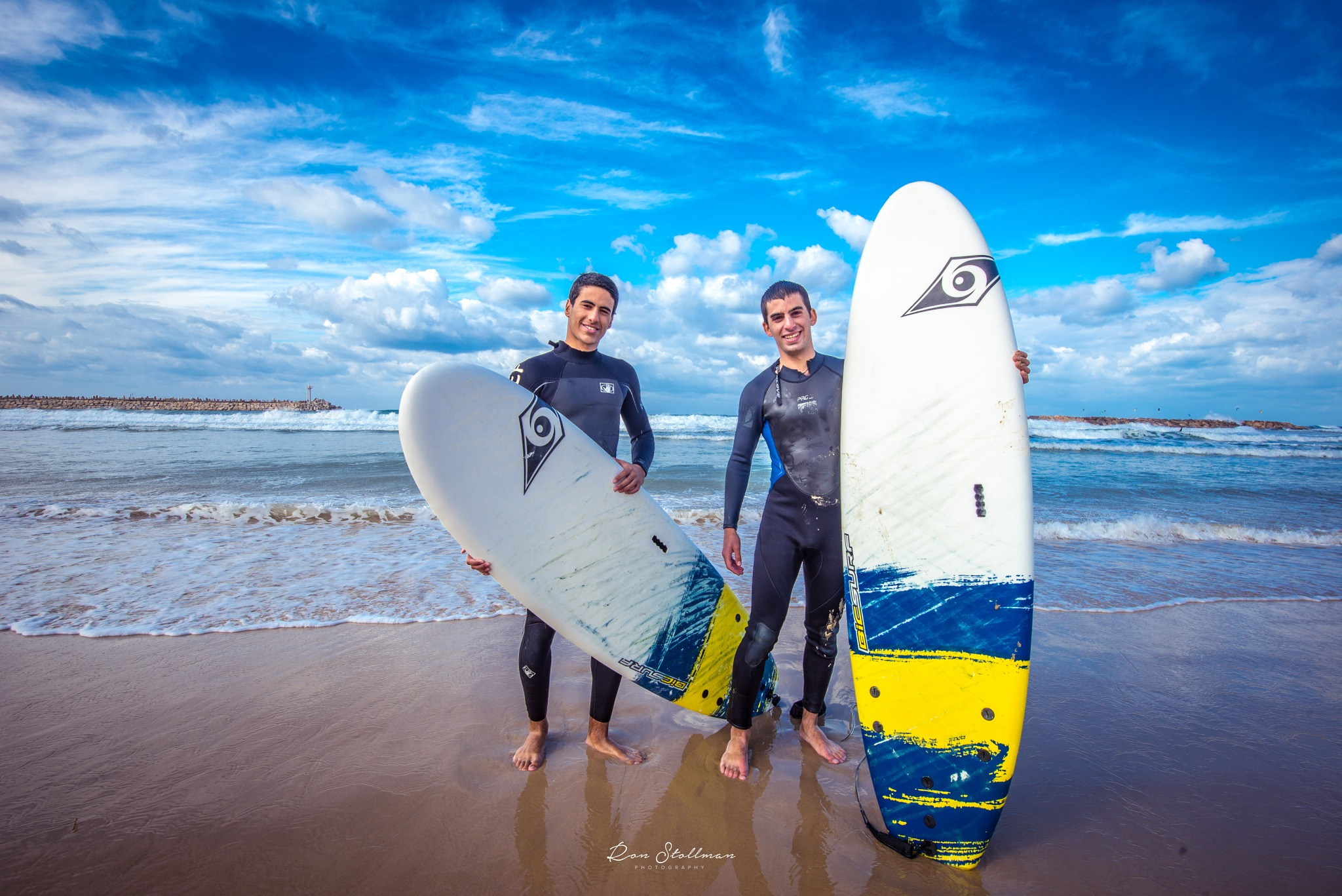 Two Surfing Buddies  by Ron Stollman