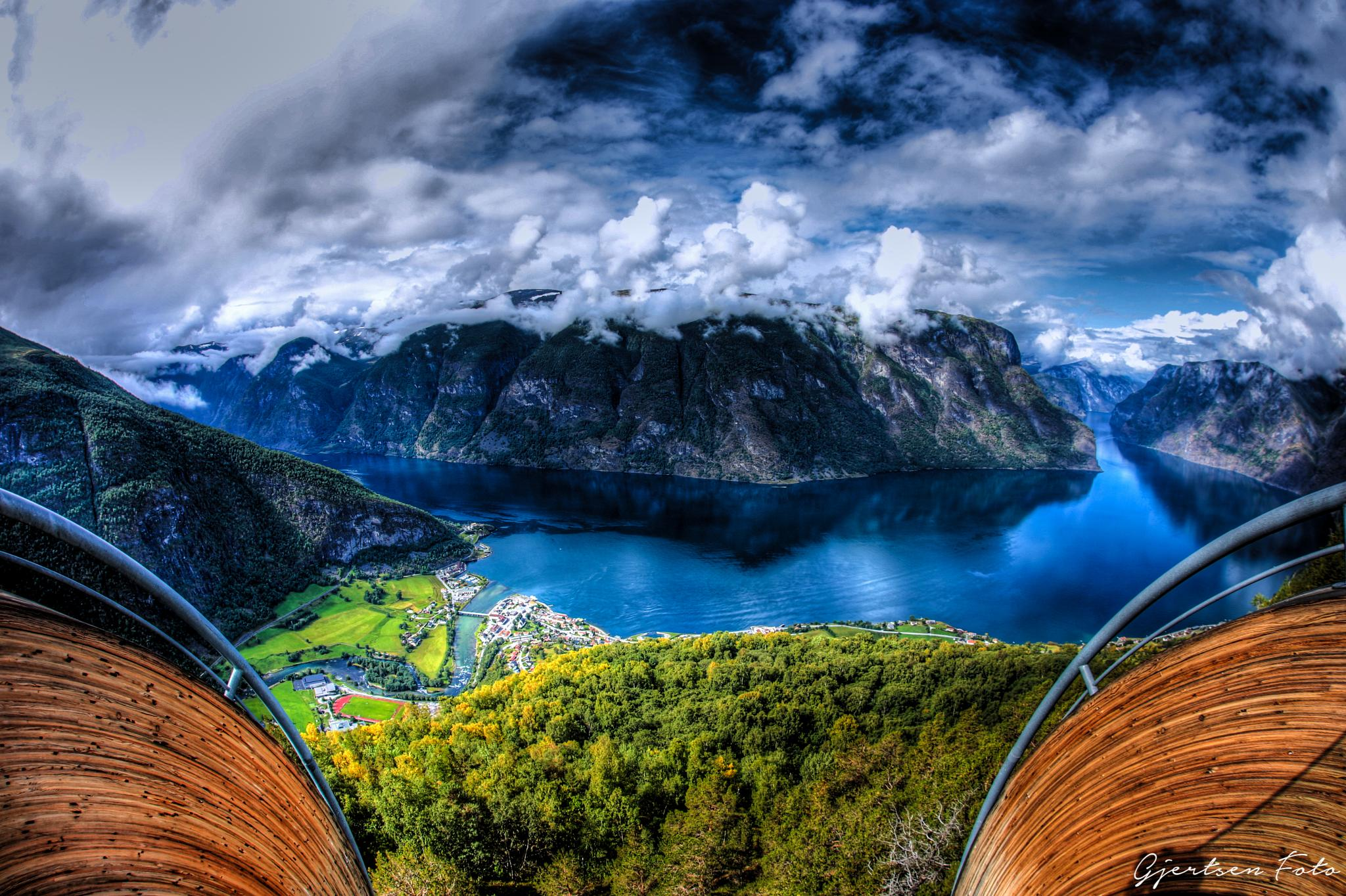 View from Stegastein, Norway by gjertsenfoto