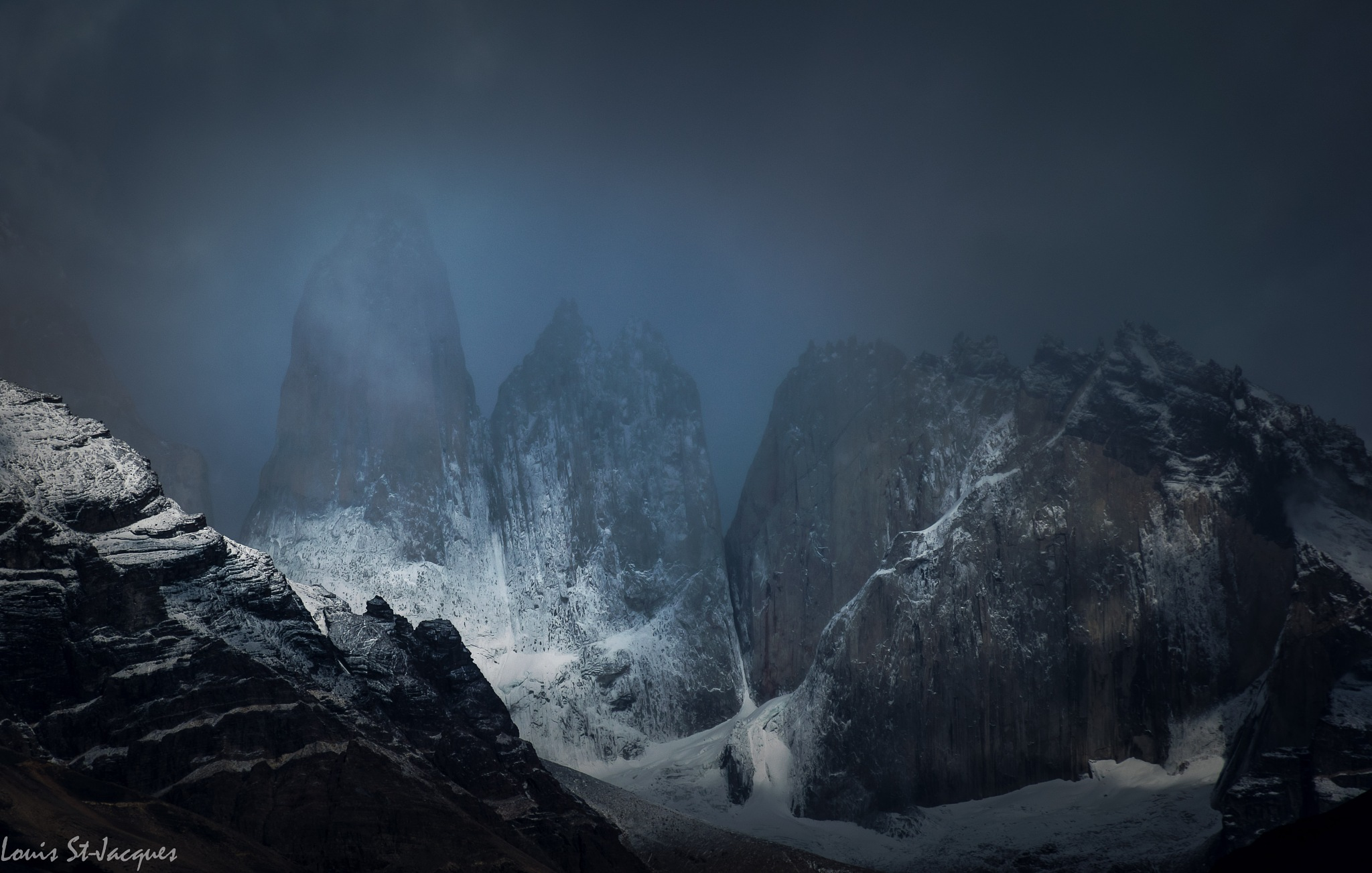 Torres del Paine in the mist by LouisStJacques