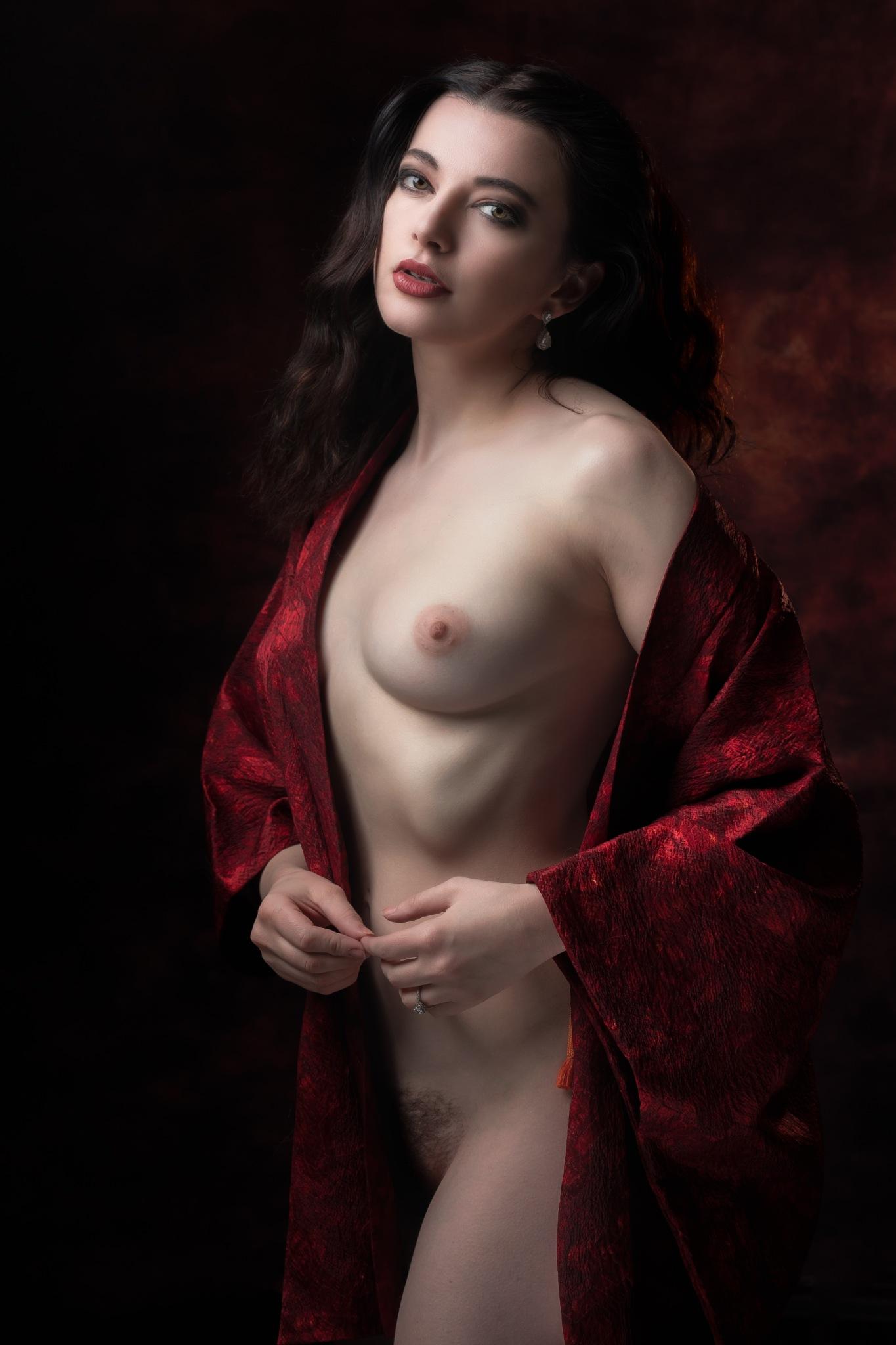 in scarlet cloak by John Herm