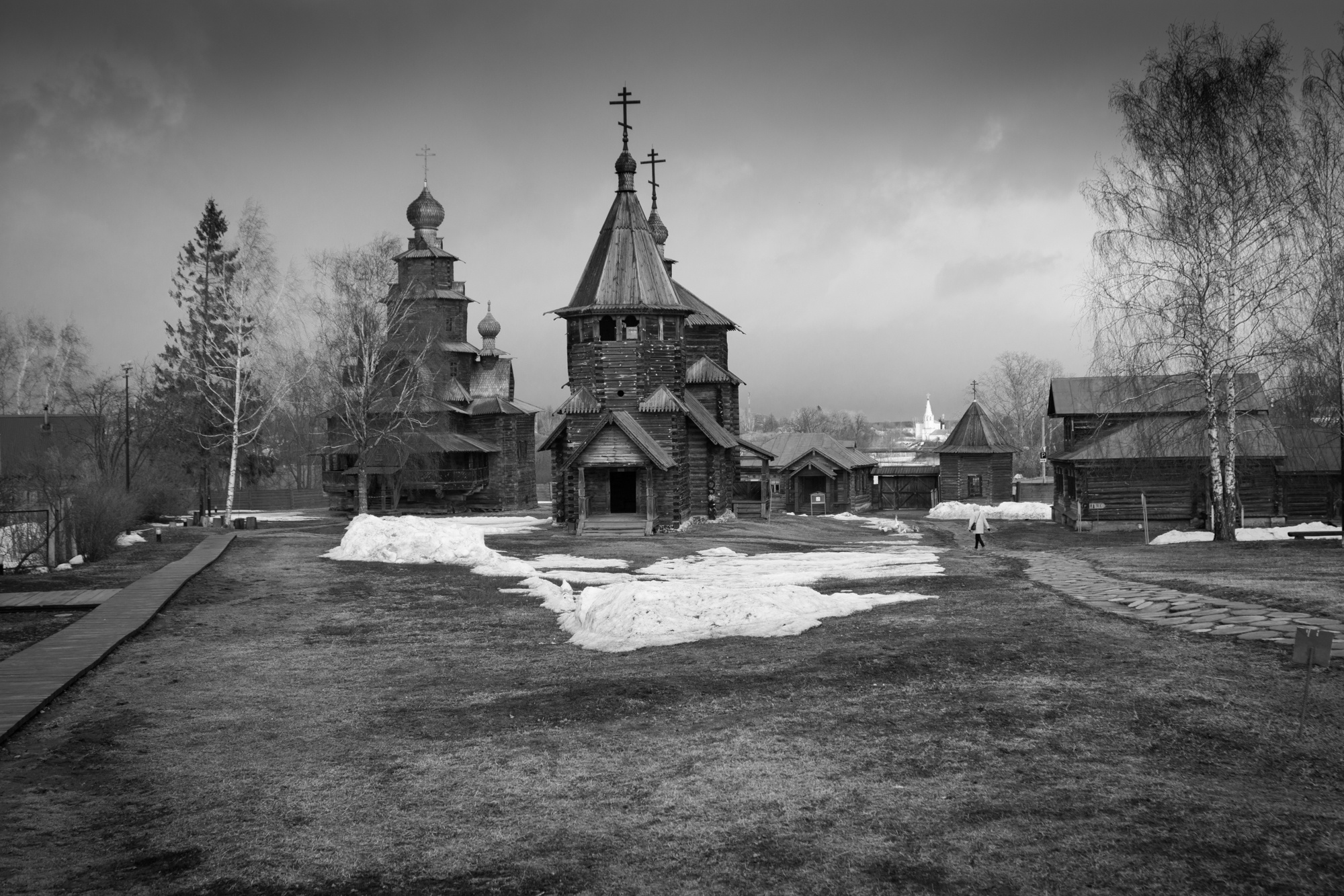 Photo in Black and White #b&w #wooden #church #spring #russia #golden ring