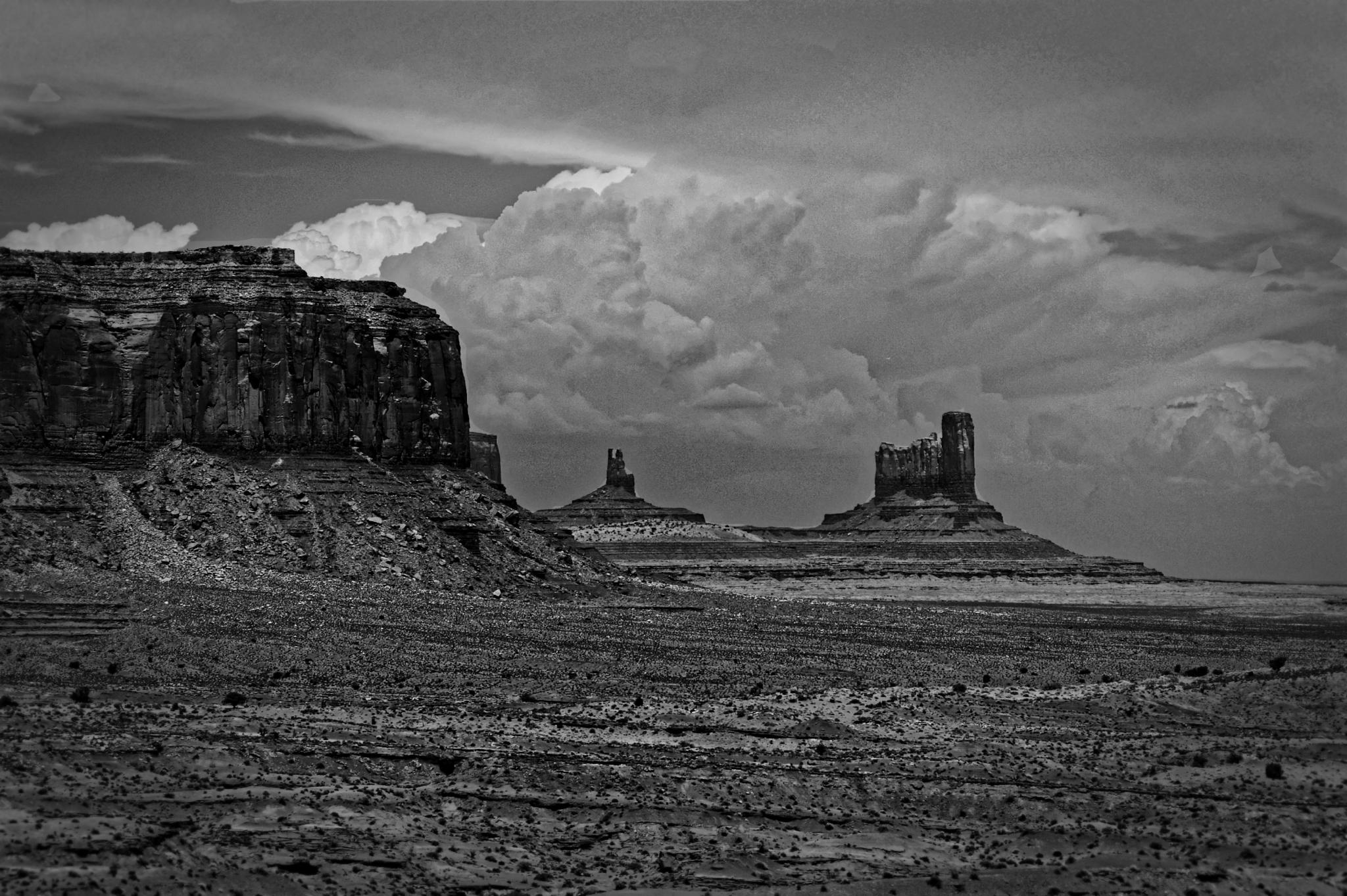 Monument Valley in Black and White by jschulzphotography