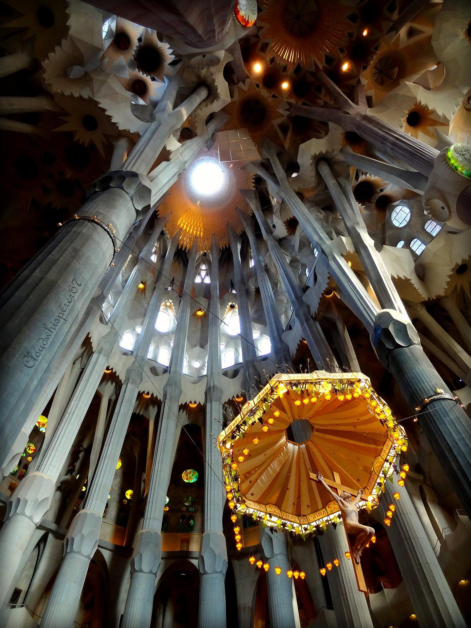 Jesus golden umbrella - Sagrada Familia, Barcelona by cloudwhisperer67