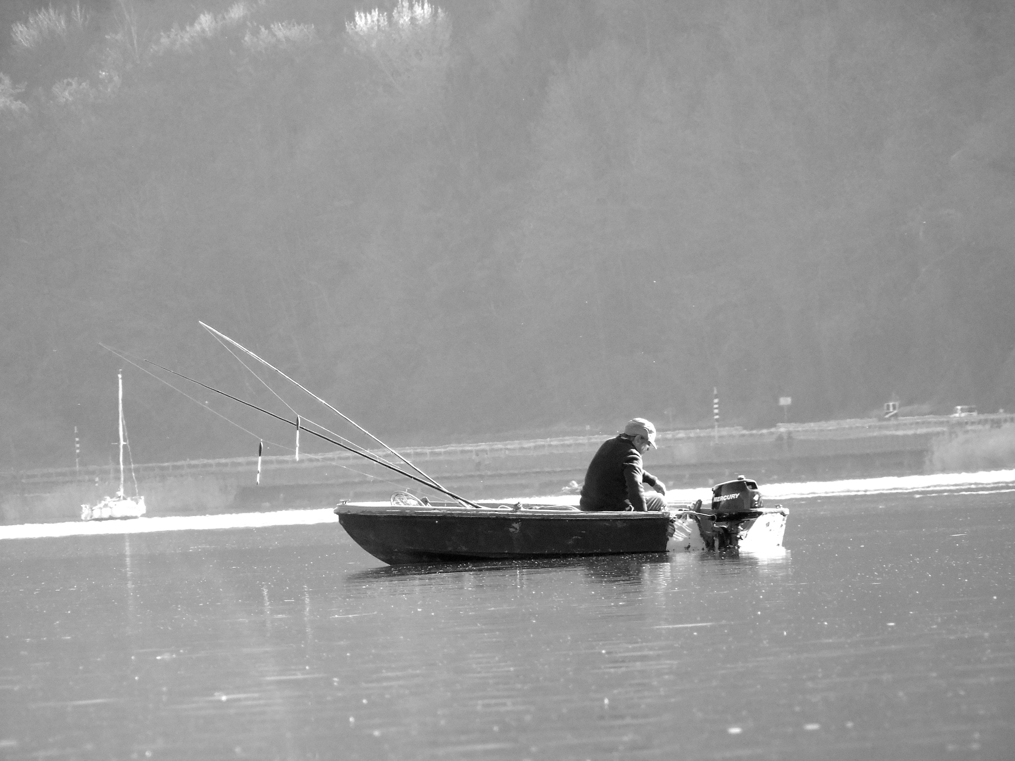 Photo in Black and White #italy #fisherman #photography #black&white #biancoenero #jacopo #italia #lagodicaldonazzo #caldonazzo #trentino