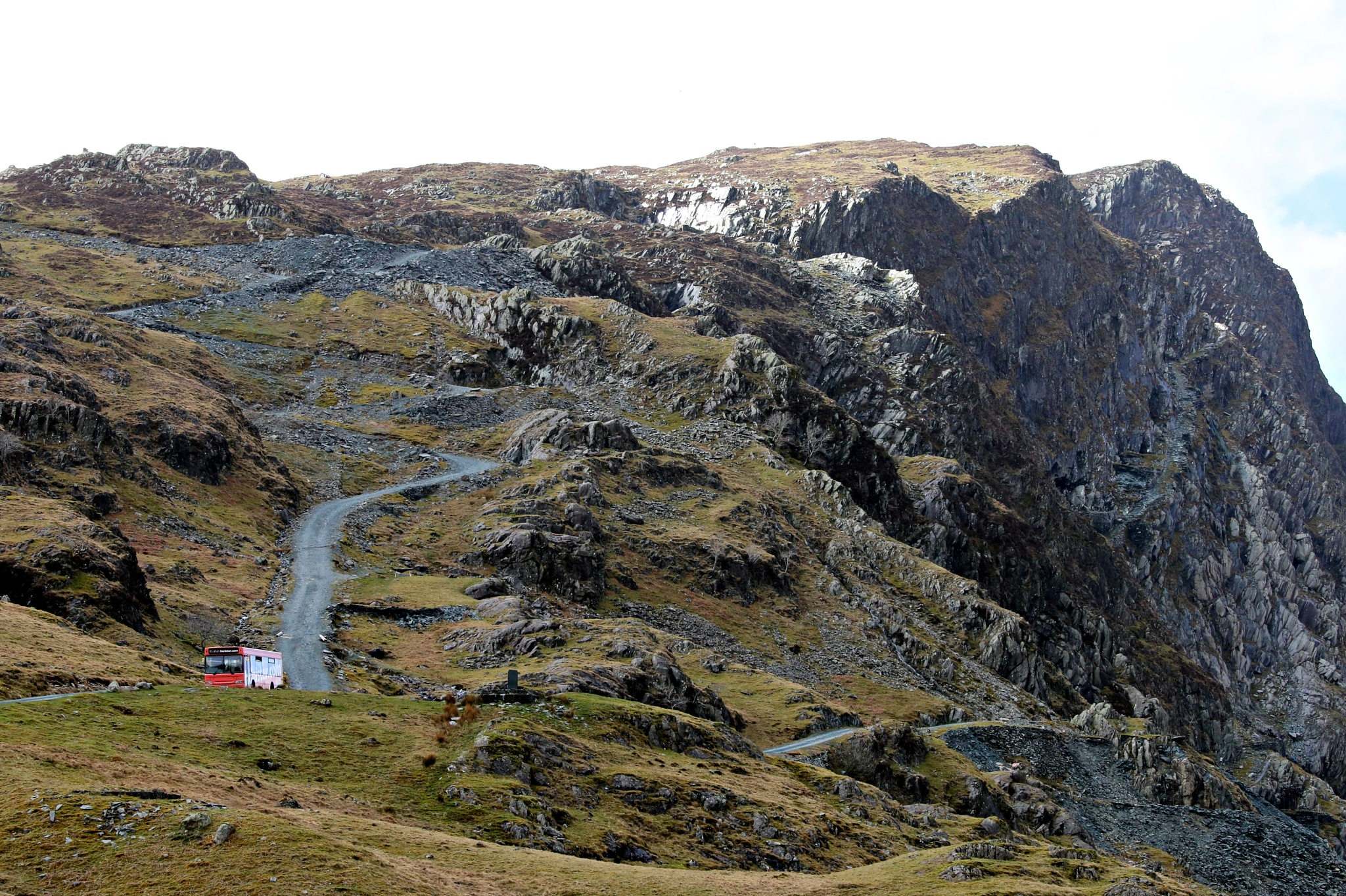 Photo in Landscape #honister #pass #honister.com #mountain #bus #slate #mine #track #road