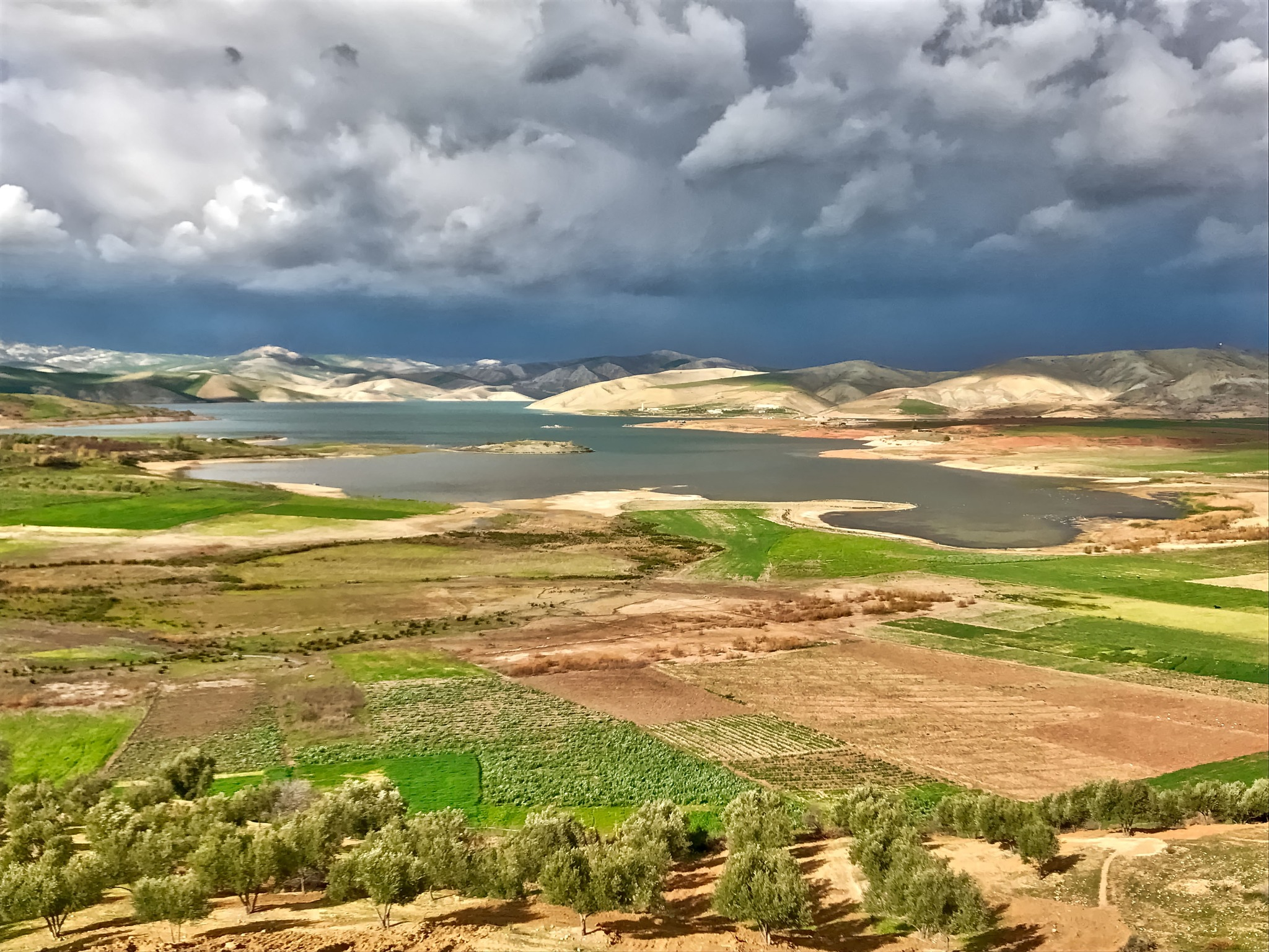 Landscape at the barrier lake Sidi Chahed in Morocco. by Erwin Widmer