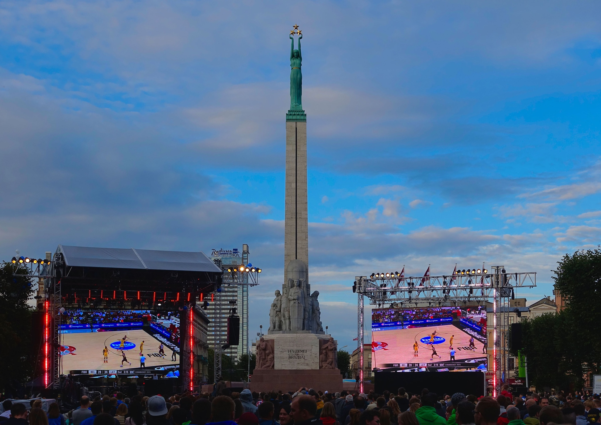 The Freedom Monument in Riga during the Basketball European Championship by Erwin Widmer