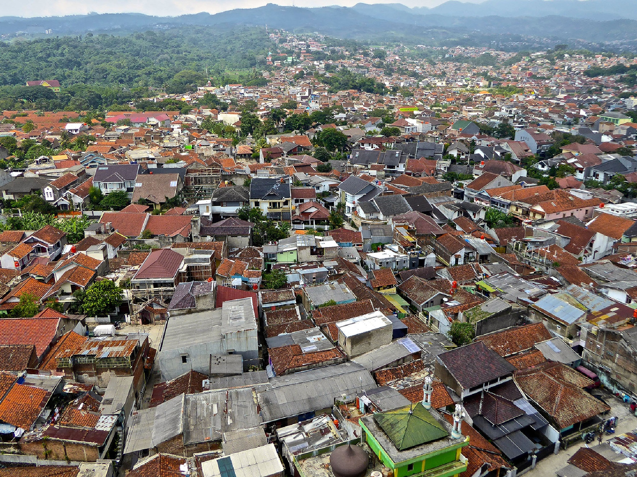 Bandung, Indonesia from the roof of the hotel by Erwin Widmer