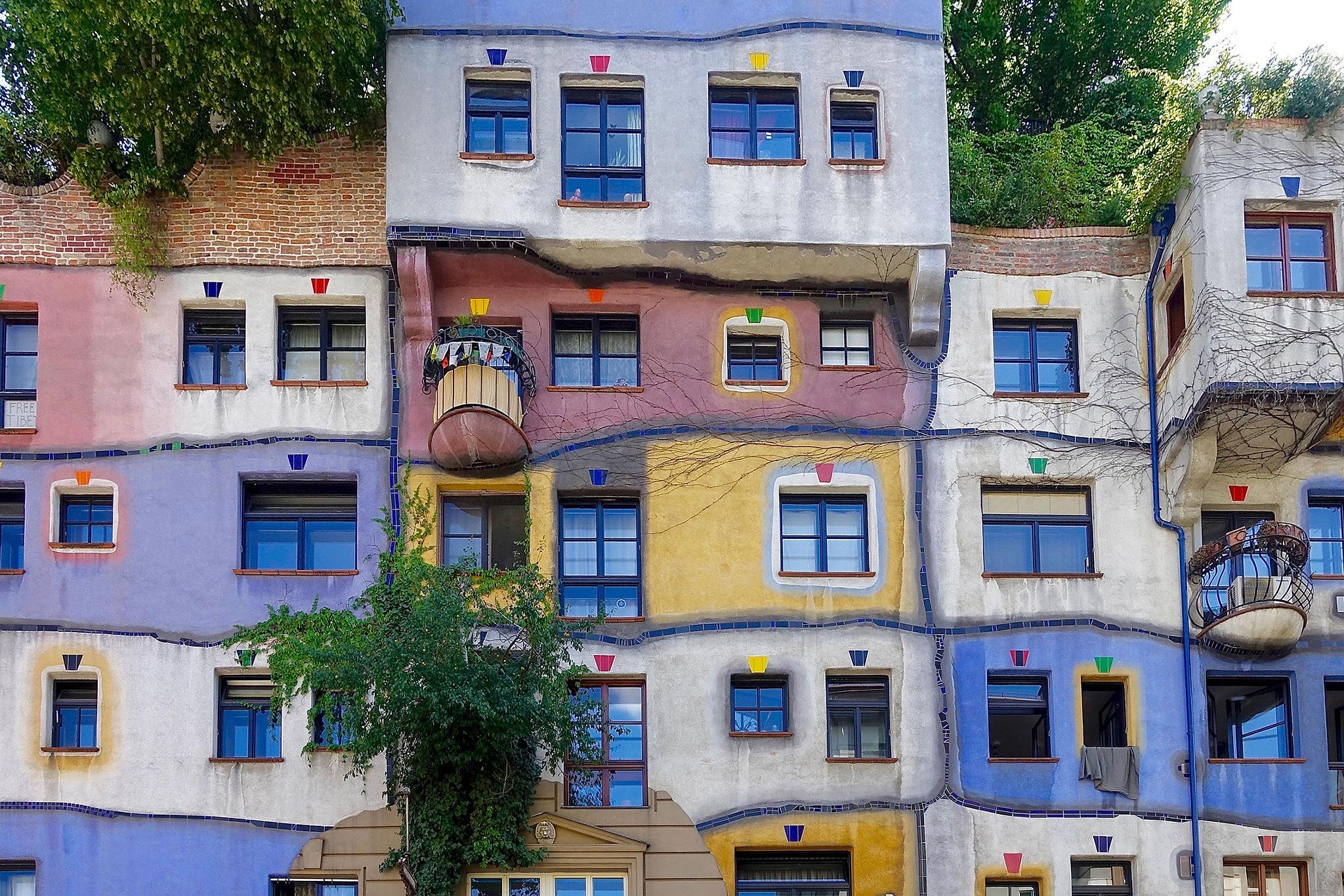 A part of the Hundertwasser house in Vienna, Austria by Erwin Widmer