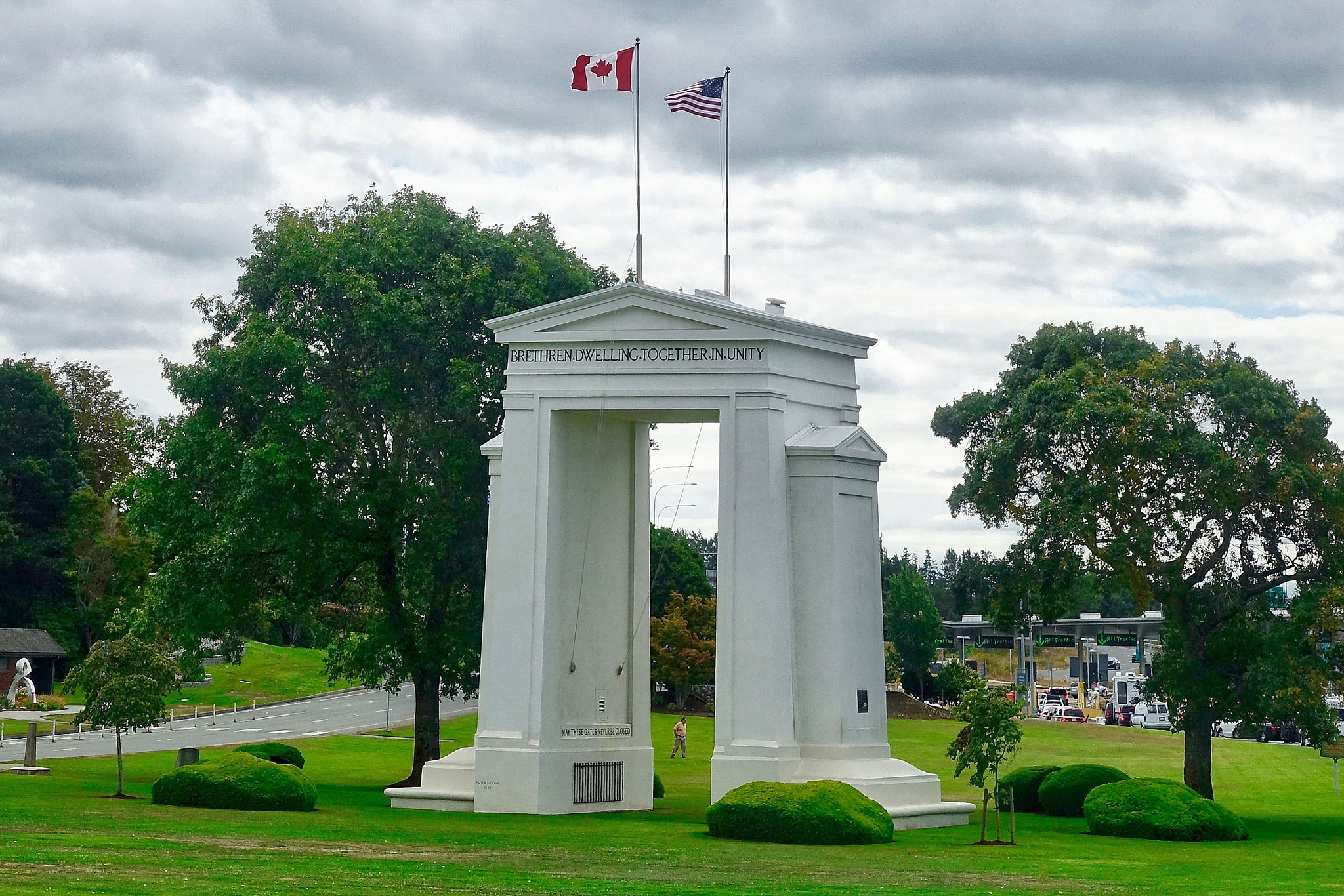 The Peace Arc at the border between Canada and the USA at Blaine. by Erwin Widmer