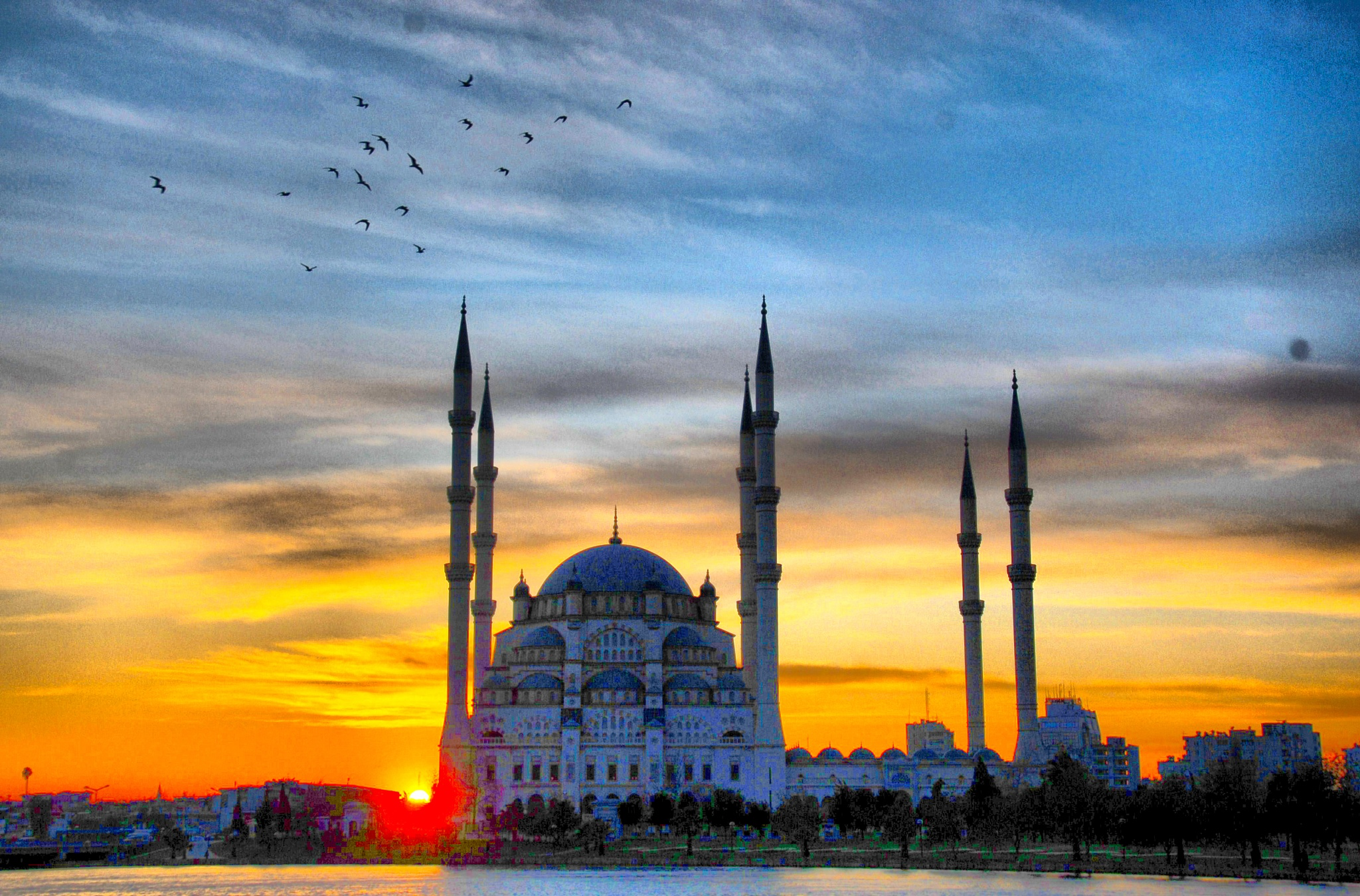 Sunset and Sabanci Mosque by kebabman