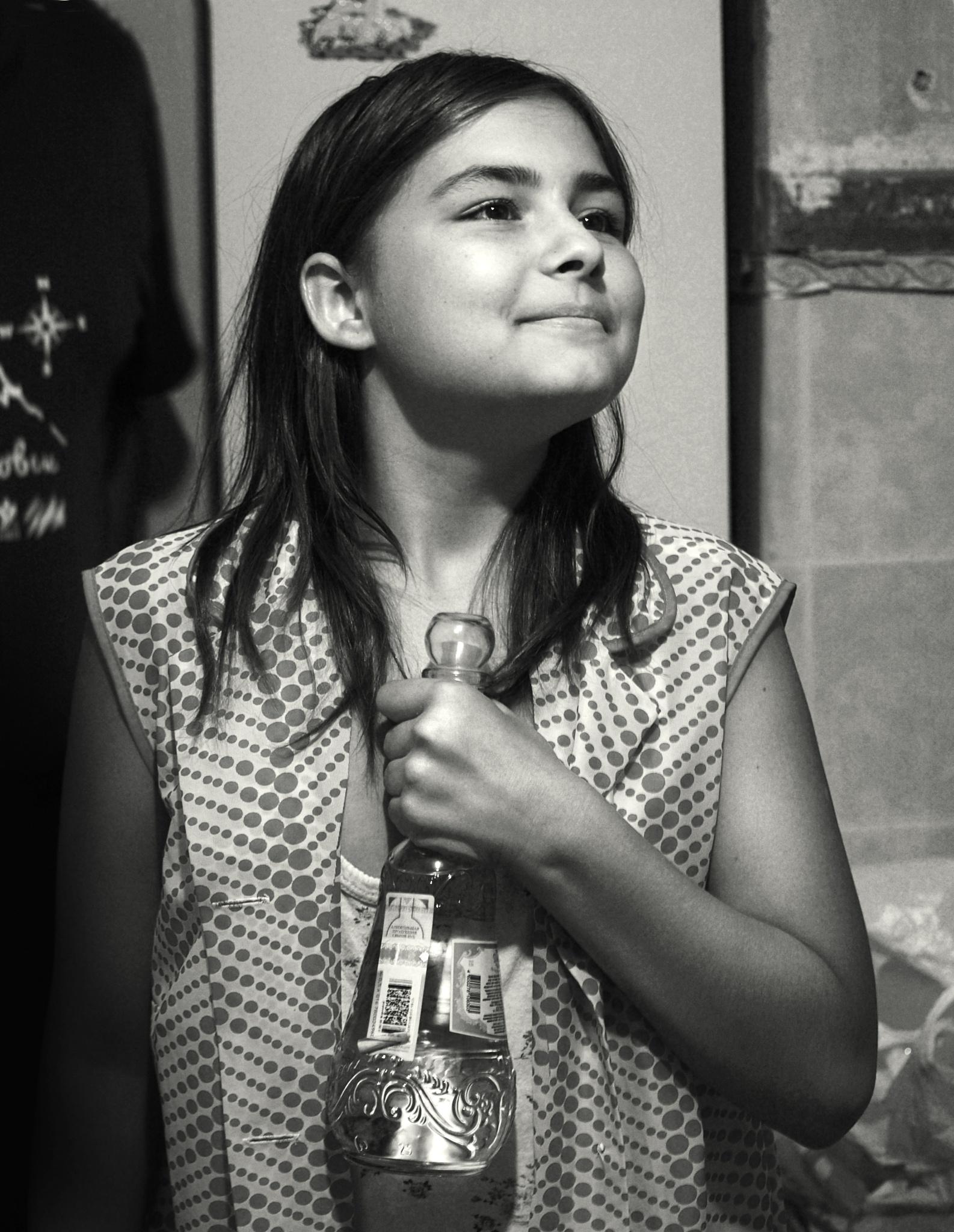 Julia and a bottle of vodka by Сергей Юрьев