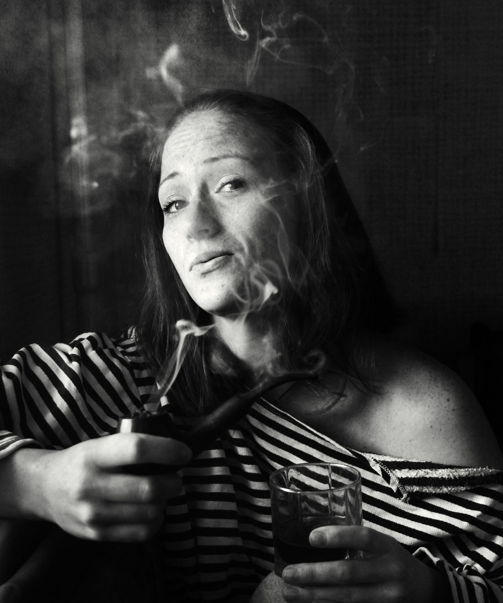 Natalie, pipe fnd a glass of whiskey by Сергей Юрьев