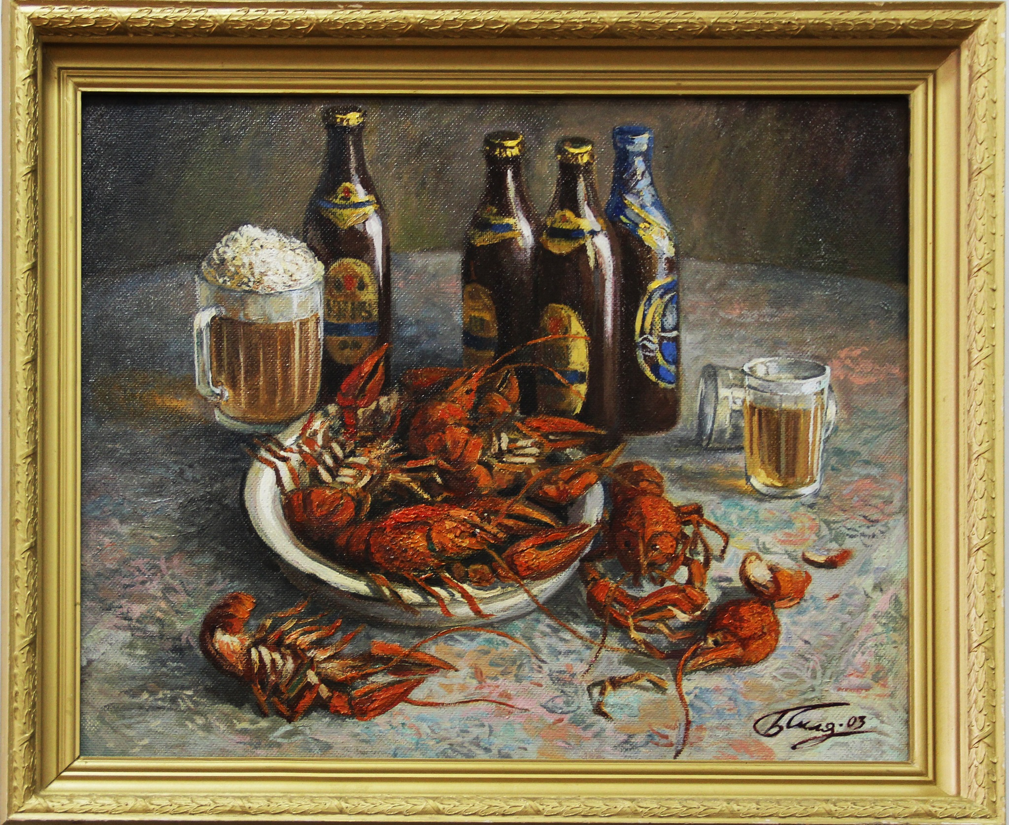"""Boris Sklyartsuk, still life """"Beer and crawfish"""" by Сергей Юрьев"""