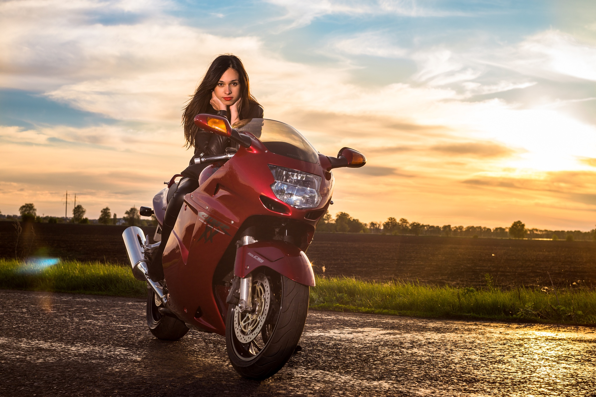 Photo in Portrait #motorbike #moto #ukraine #girl #young #sunset