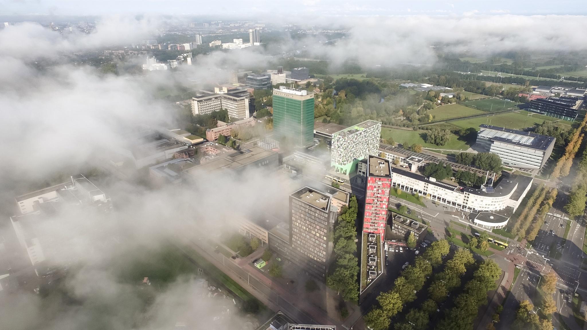 Mist over Utrecht University by Aerial Bonanza