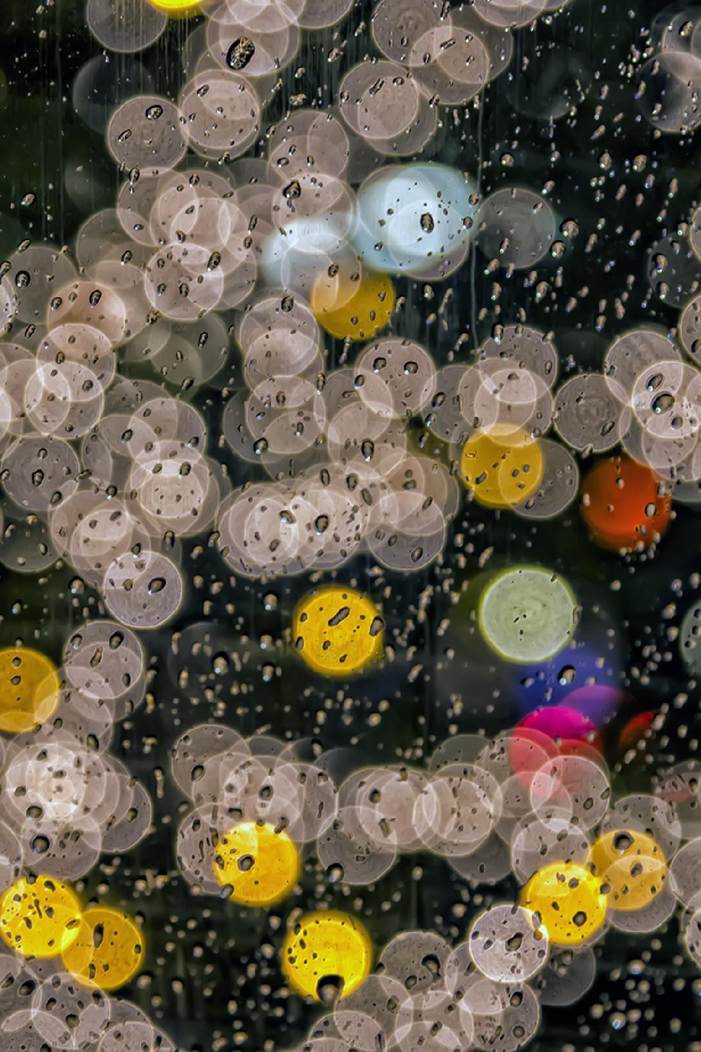Rain on Cab Window at Night by robertullmann