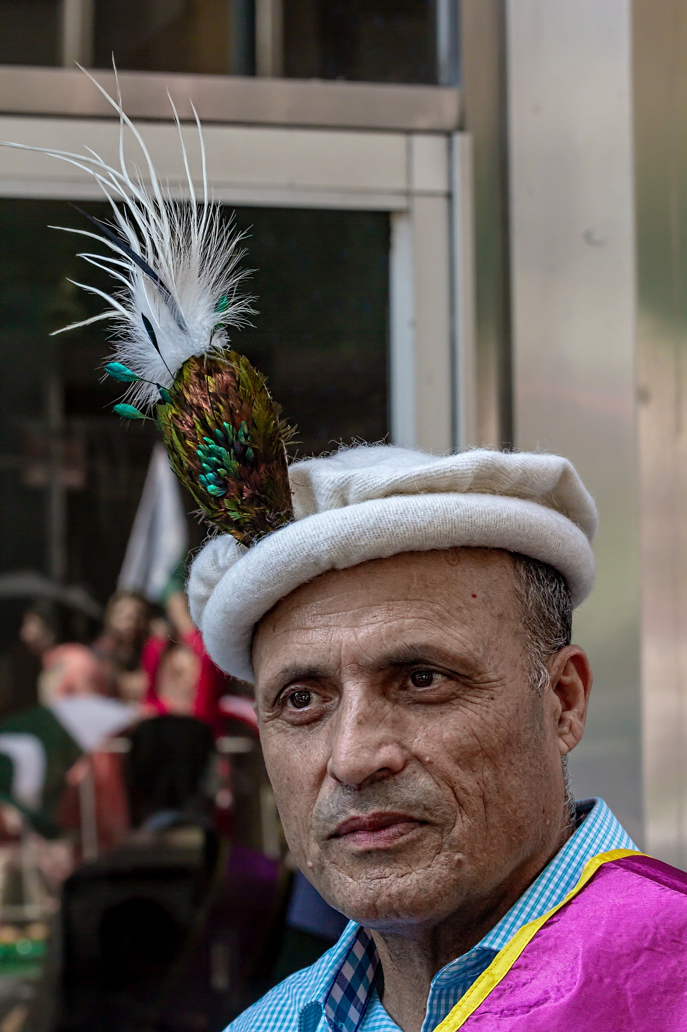 Pakistani Day NYC - man with feathered hat - Traditional Dress by robertullmann