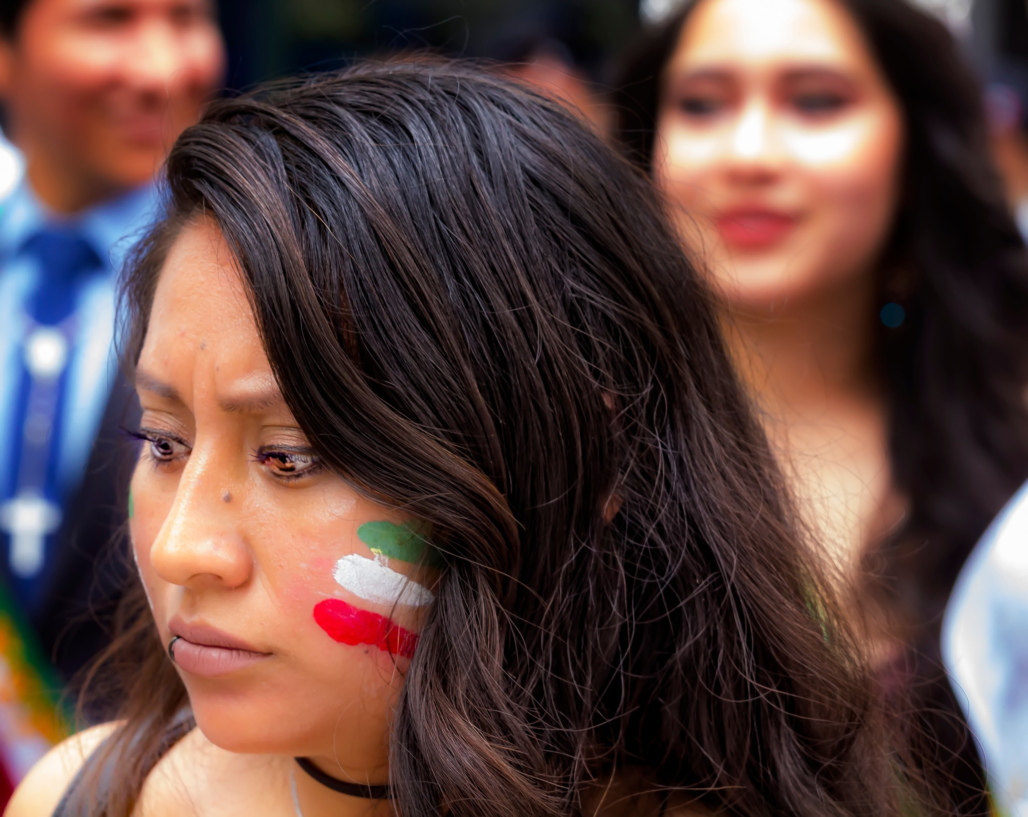 Mexican Day Parade NYC 2016 Mexican Flag Facepaint by robertullmann