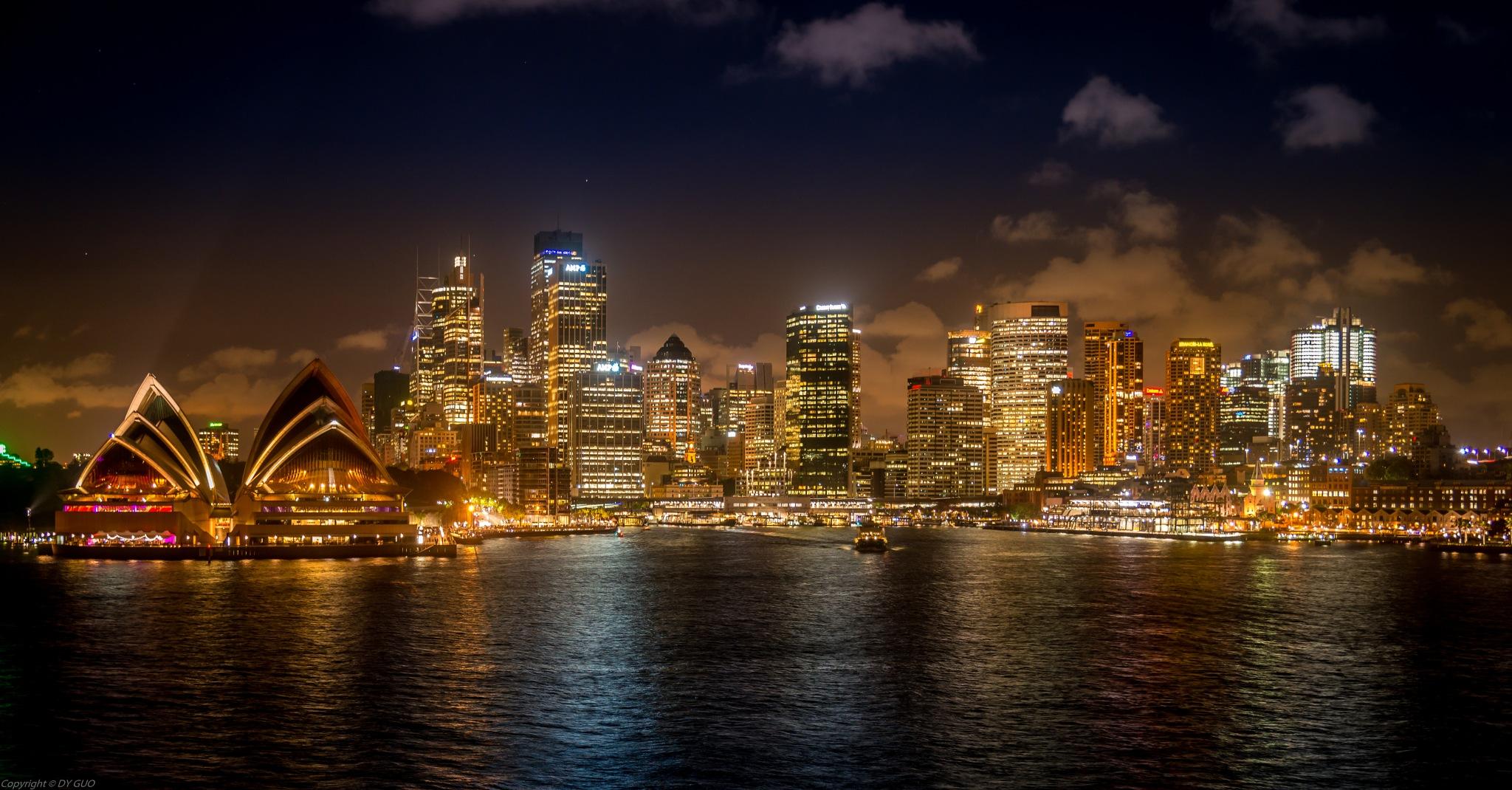 Sydney harbor at evening by David Guo