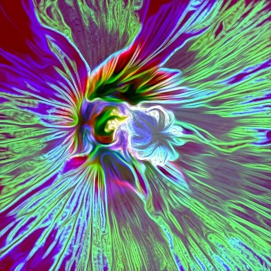 Abstract hollyhocks by Terry Reynolds