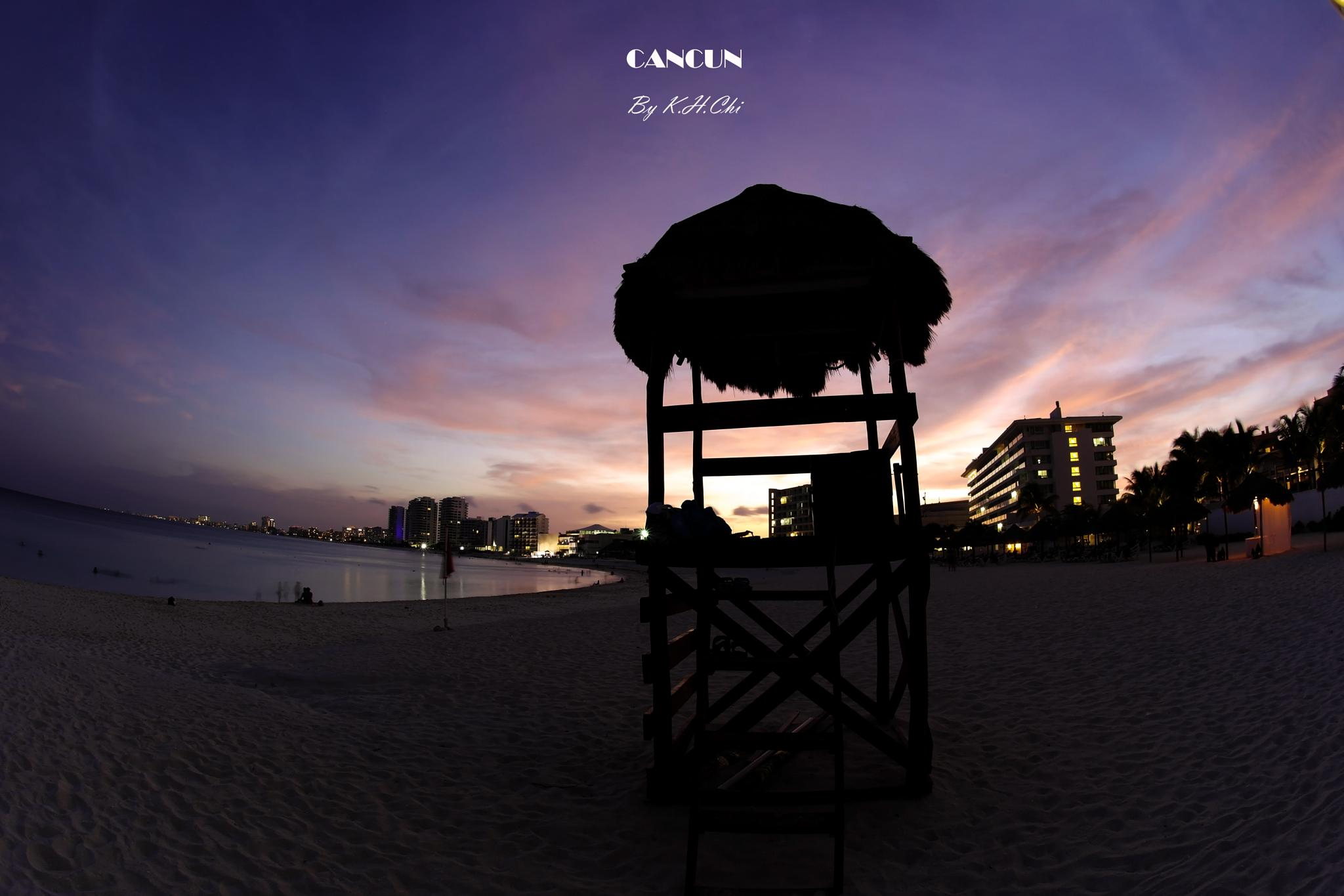 Photo in Landscape #cancun #white sand beach #punta hotel zone #travel in mexico #sunset