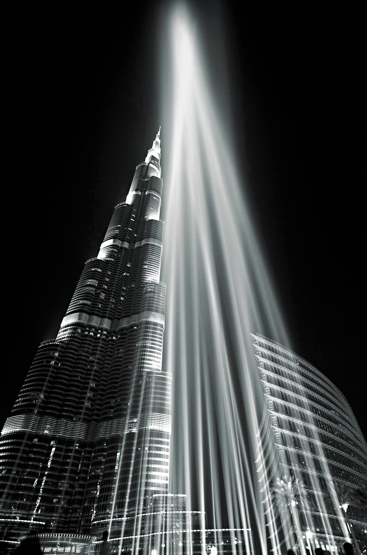 Burj Khalifa lasers in monochrome  by MrBpix