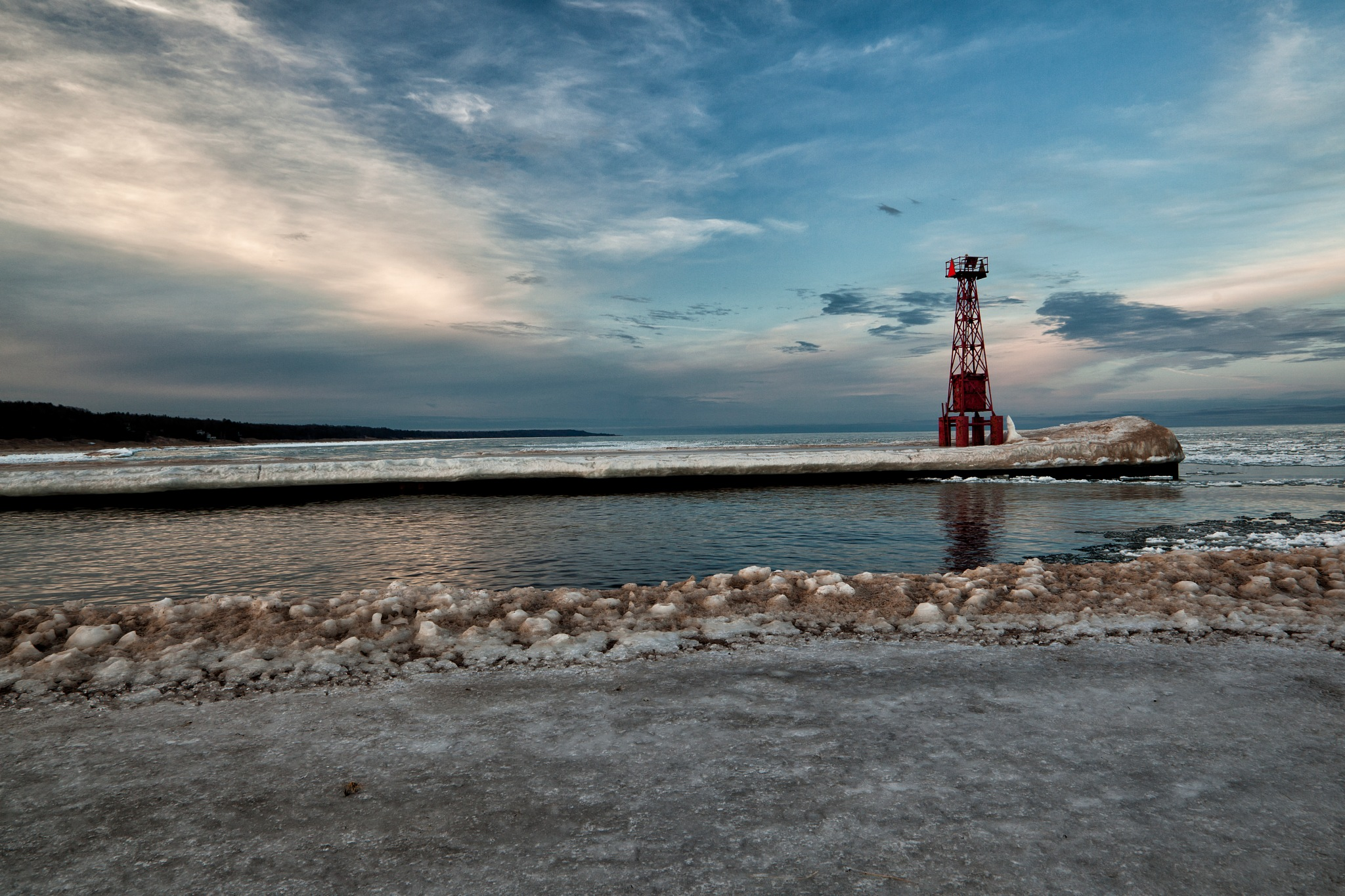 Signal Tower on Pentwater Pier in Winter by Kevin Kludy