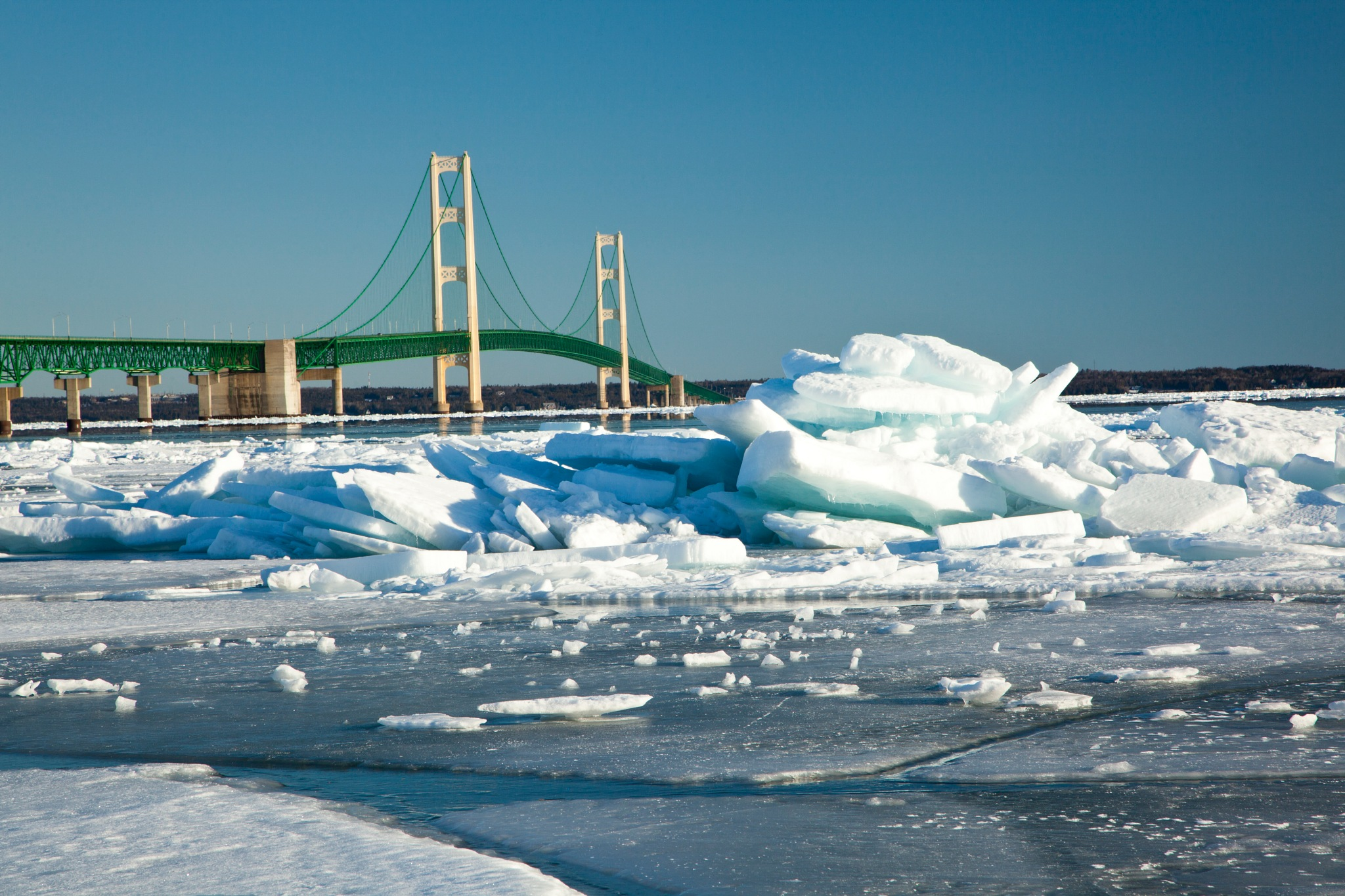 Mackinac Bridge and Ice Floes by Kevin Kludy