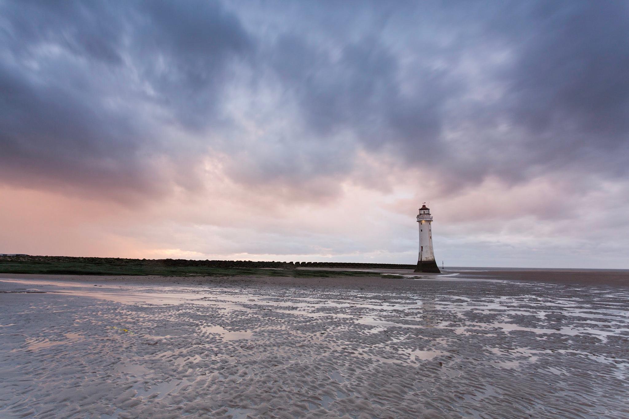 Wet sunset, New Brighton  by Carl Mickleburgh