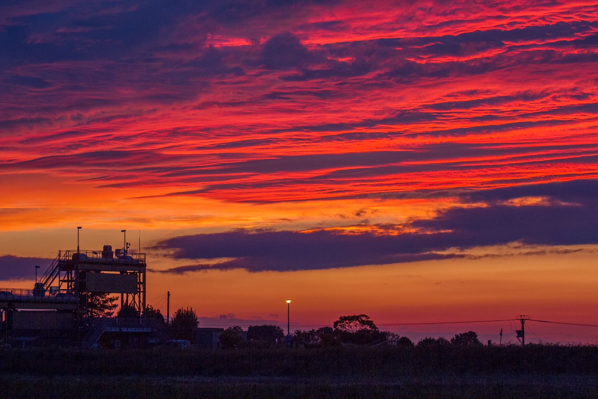 Sunset over North Bank Whittlesey Cambs by Andrew Walpole