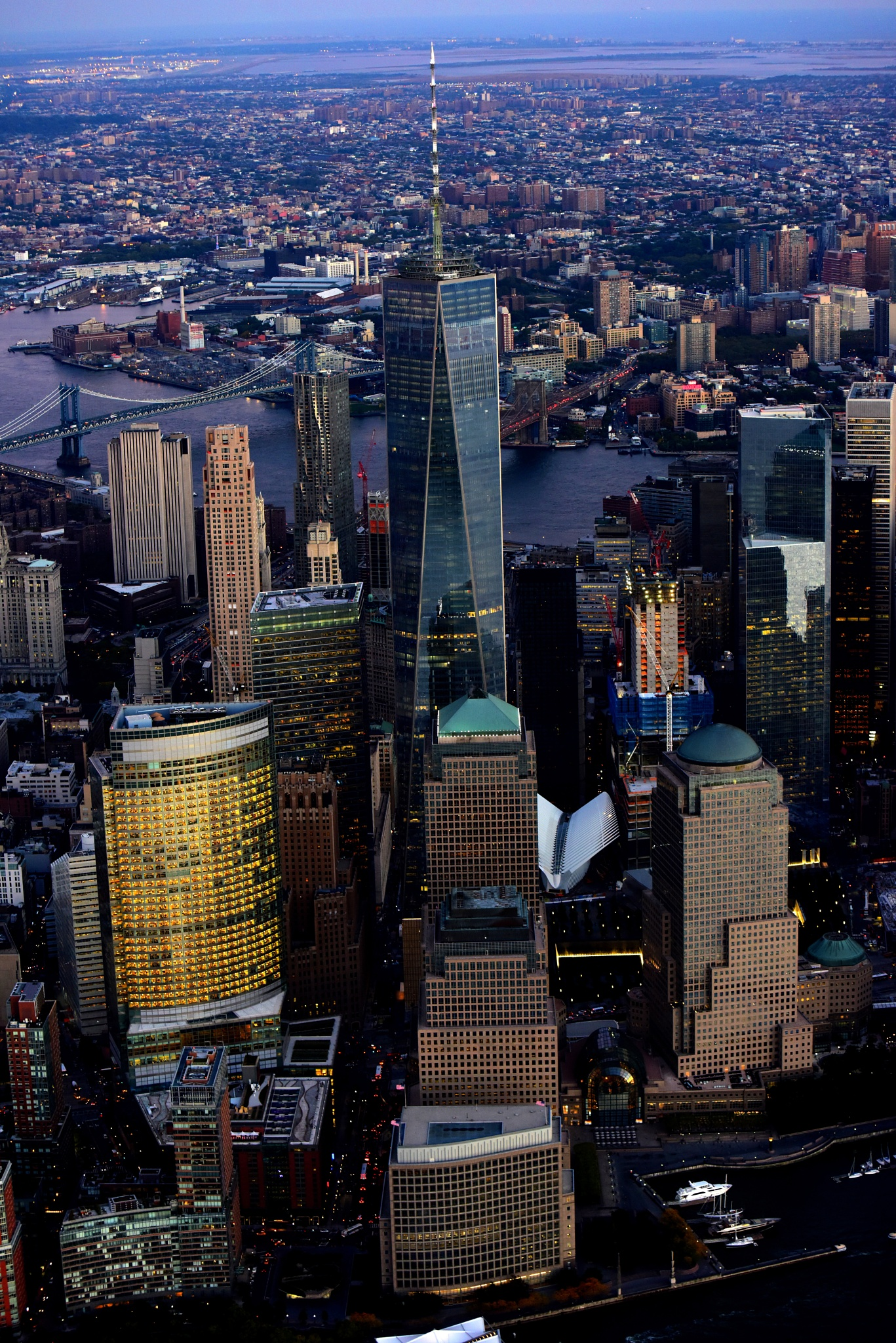 New York City Aerial at Dusk by Peter Massini