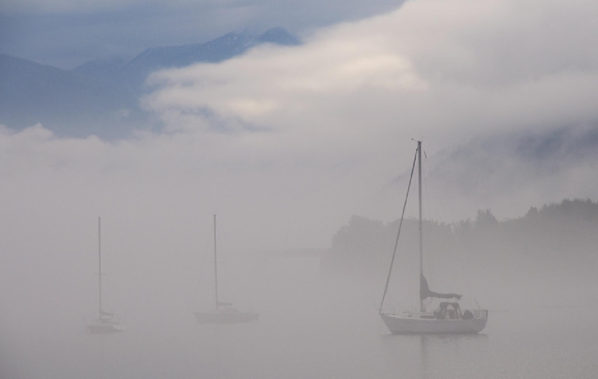 Boats in fog by MadeleineGuenette
