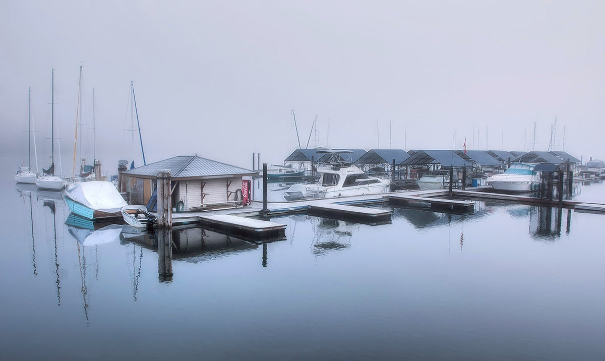 Fog at the marina by MadeleineGuenette