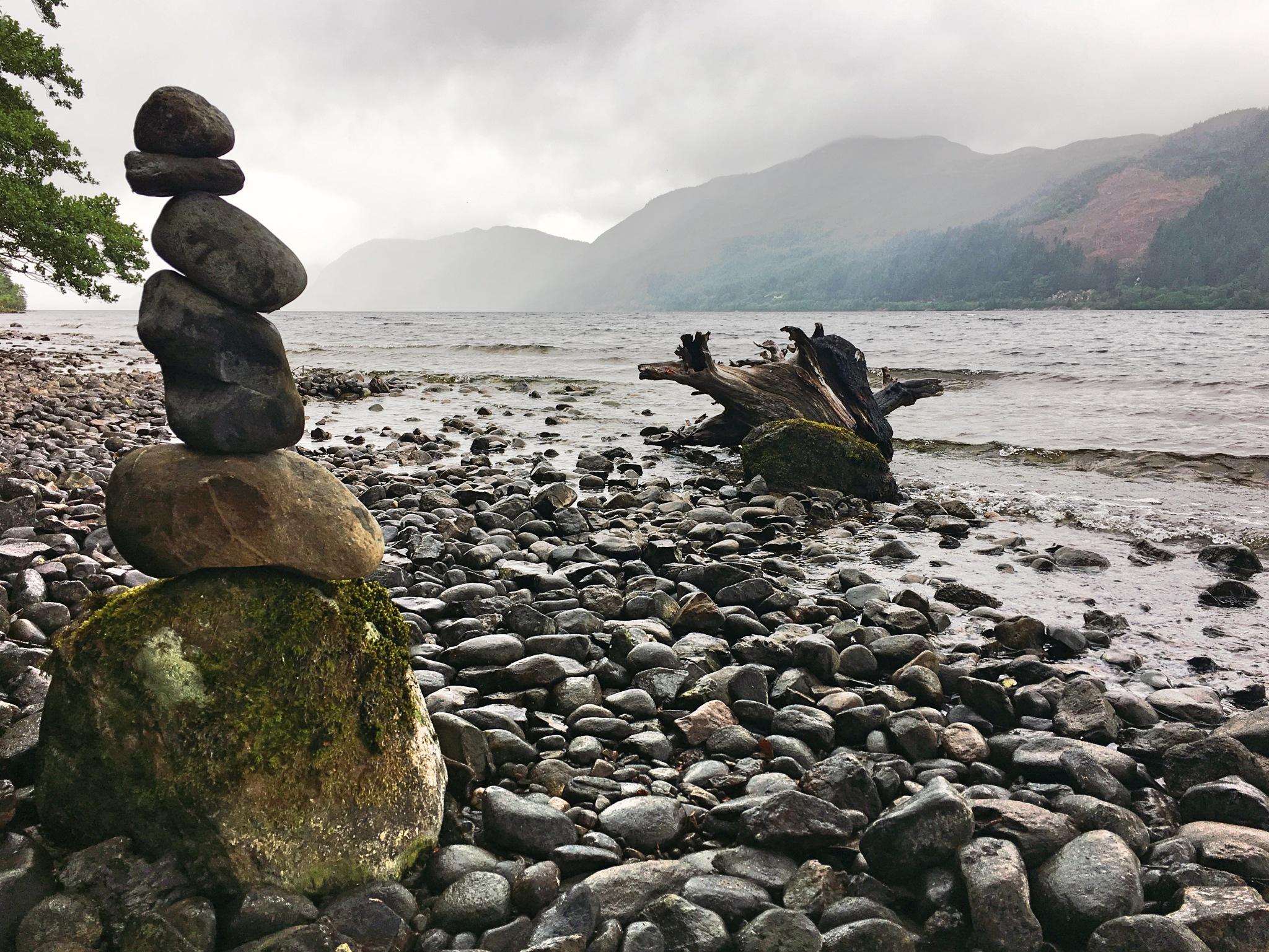 Balanced stones at Loch Ness by Paul Stobbs