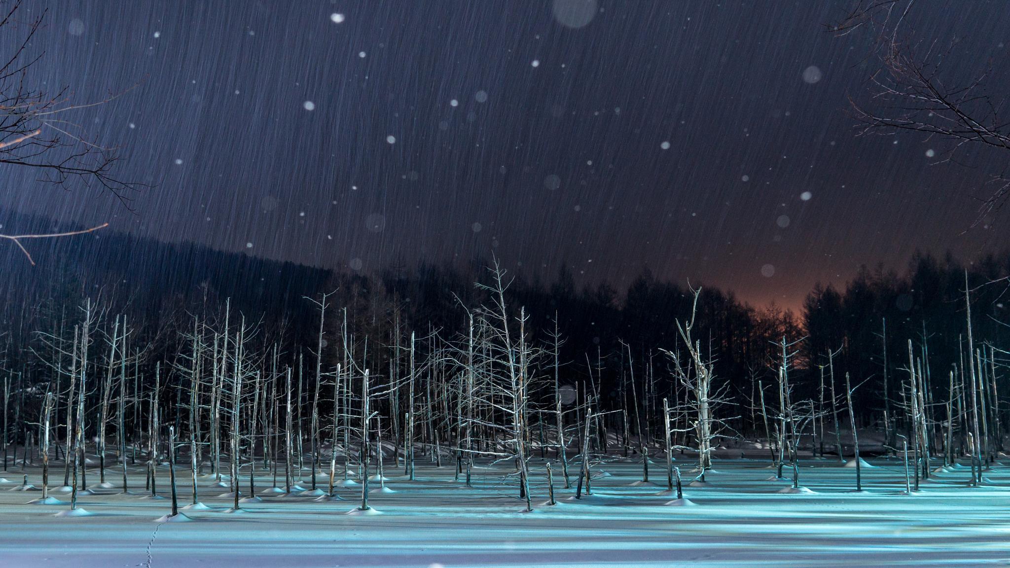 Blue pond of snowfall by Ryo Iwasaki
