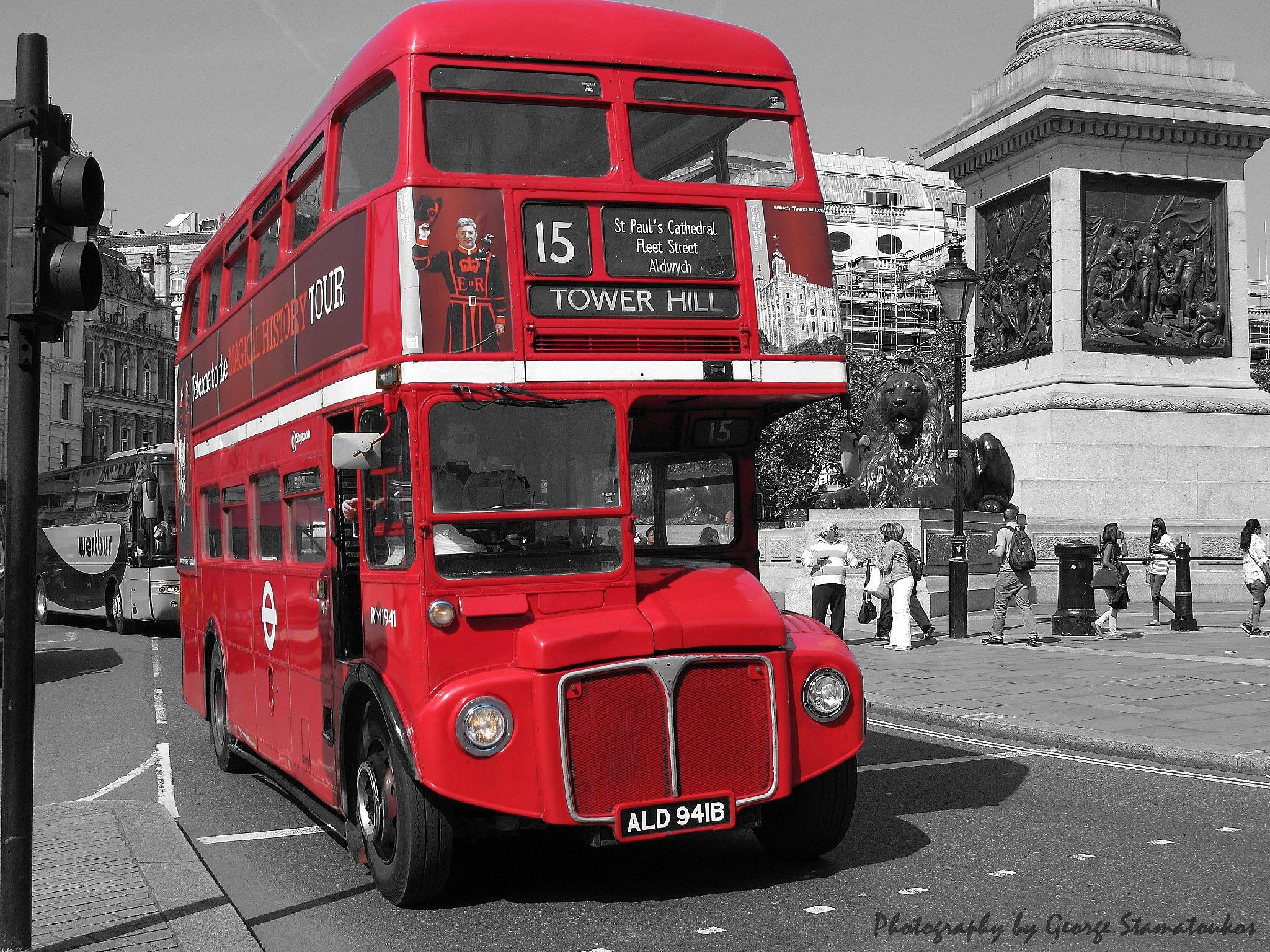 Old Red London Bus by George K. Stamatoukos